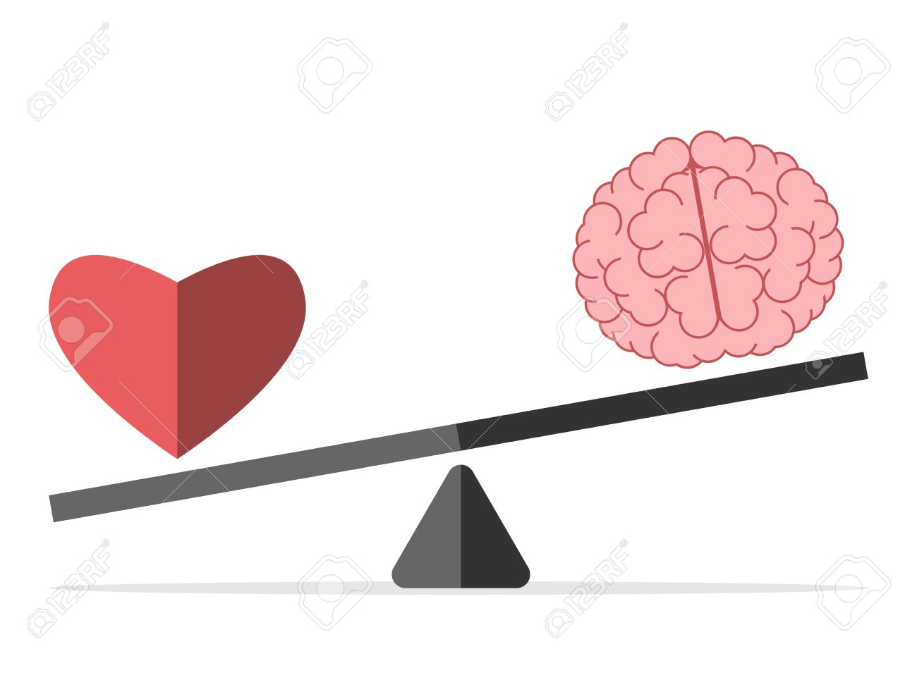 Heart and brain on scales isolated on white. Balance, love, mind, intelligence, logic, intelligent, emotion and choice concept. - 56597817