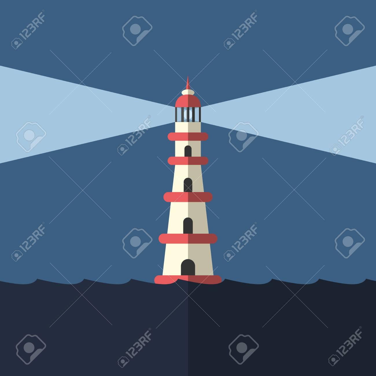 Modo De Iluminación Del Faro En El Mar Noche Oscura Gol Esperanza