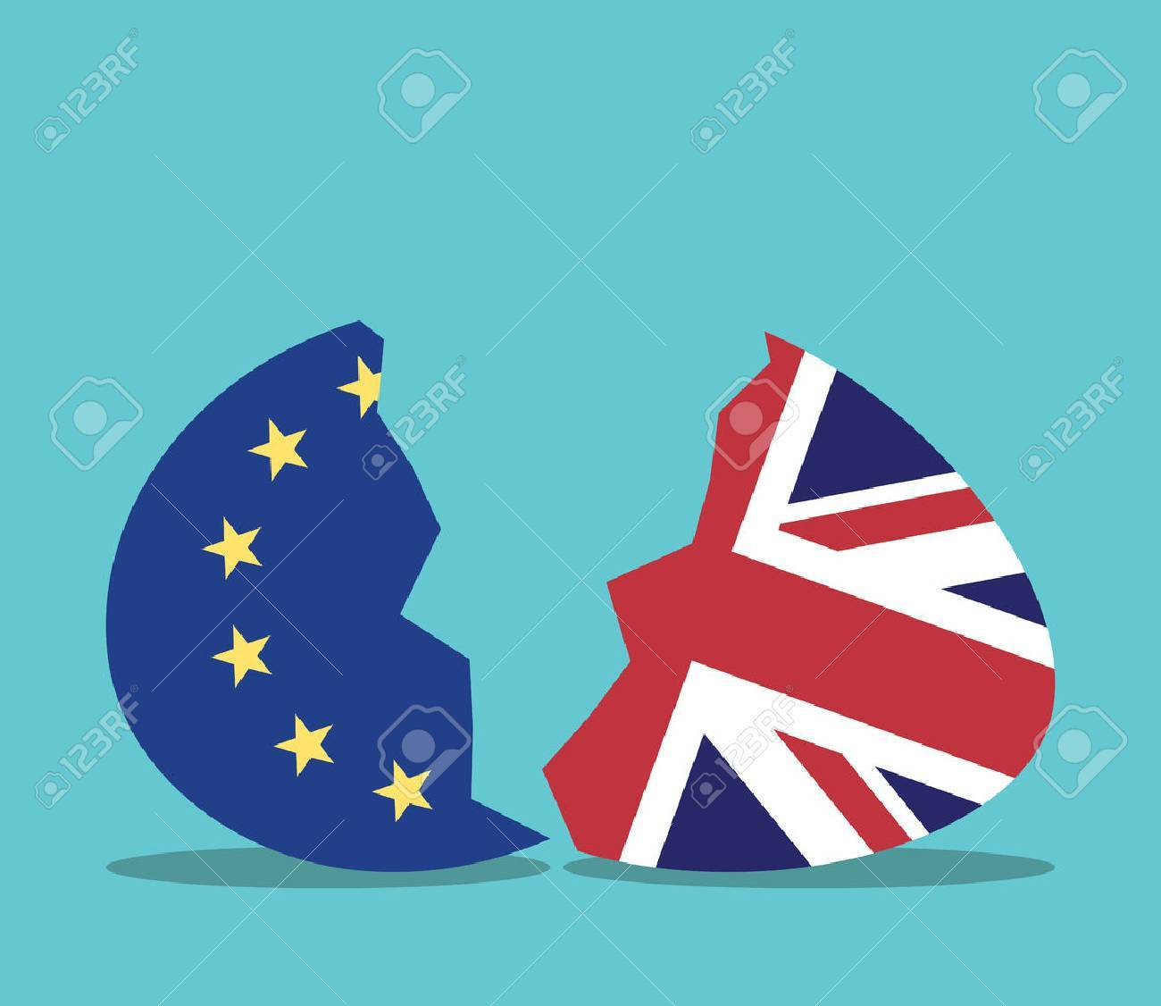 European Union and United Kingdom conceptual egg cracking in two halves. Europe, politics and economics concept. Flat design. EPS 8 vector illustration, no transparency - 65300467
