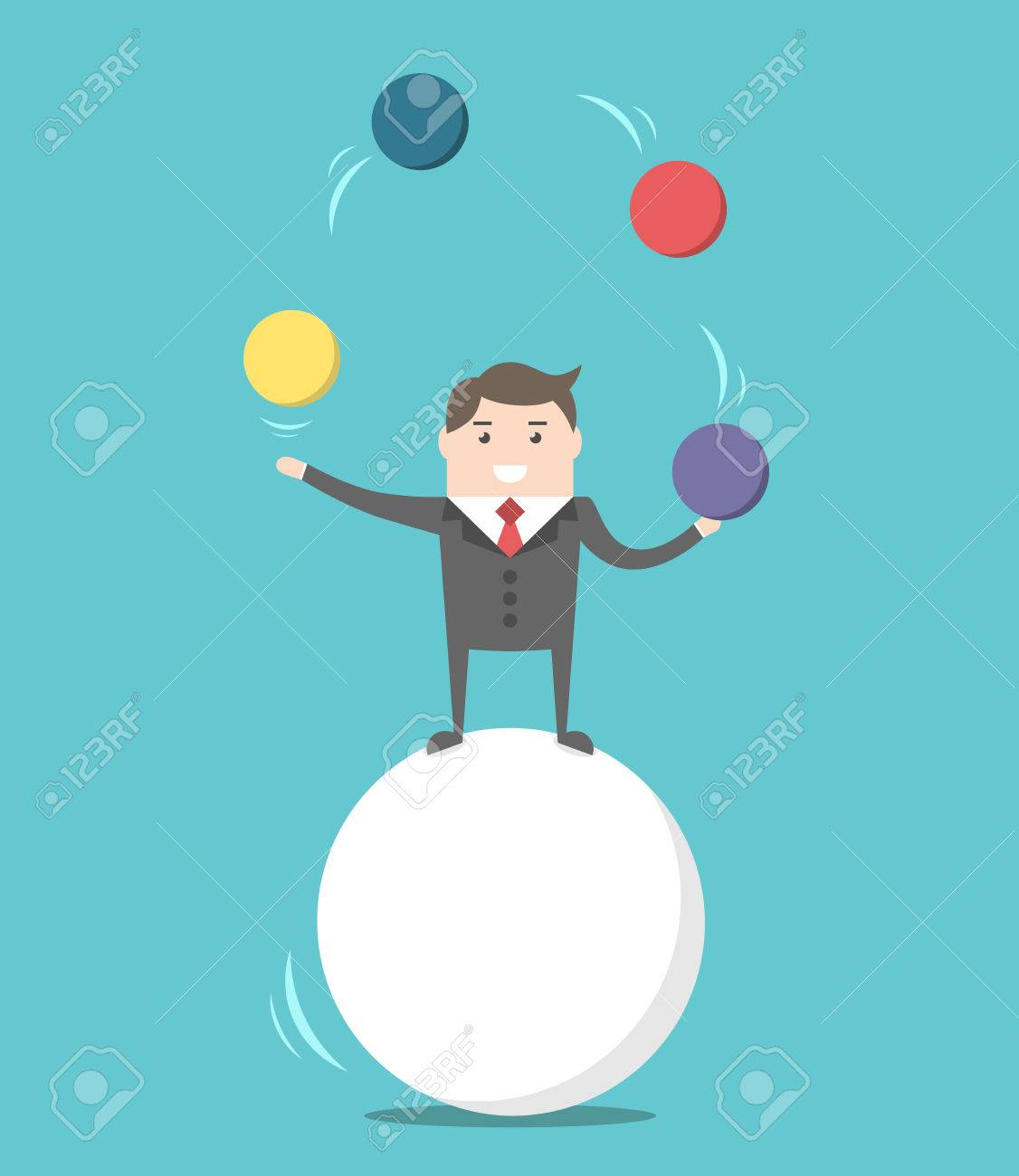 Happy businessman standing on sphere and juggling. Balance, challenge and performance concept. Flat design. EPS 8 vector illustration, no transparency - 65300792