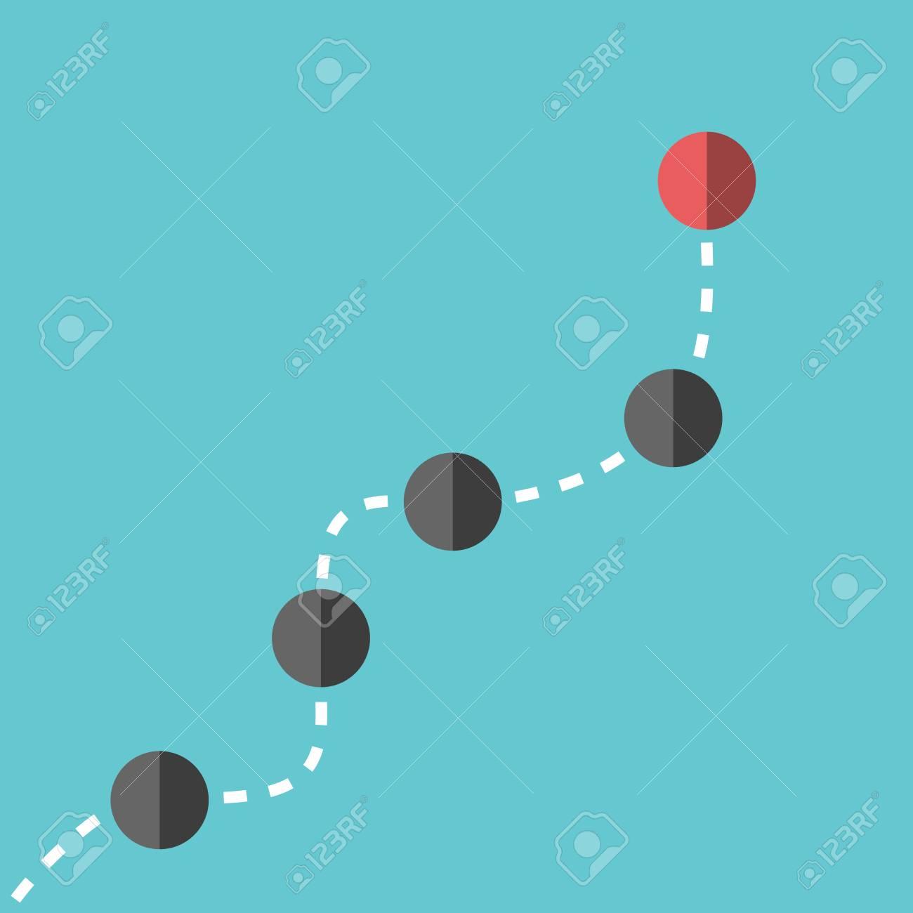 Vettoriale Sfere Nere Seguenti Capo Rosso Uno Su Sfondo Blu
