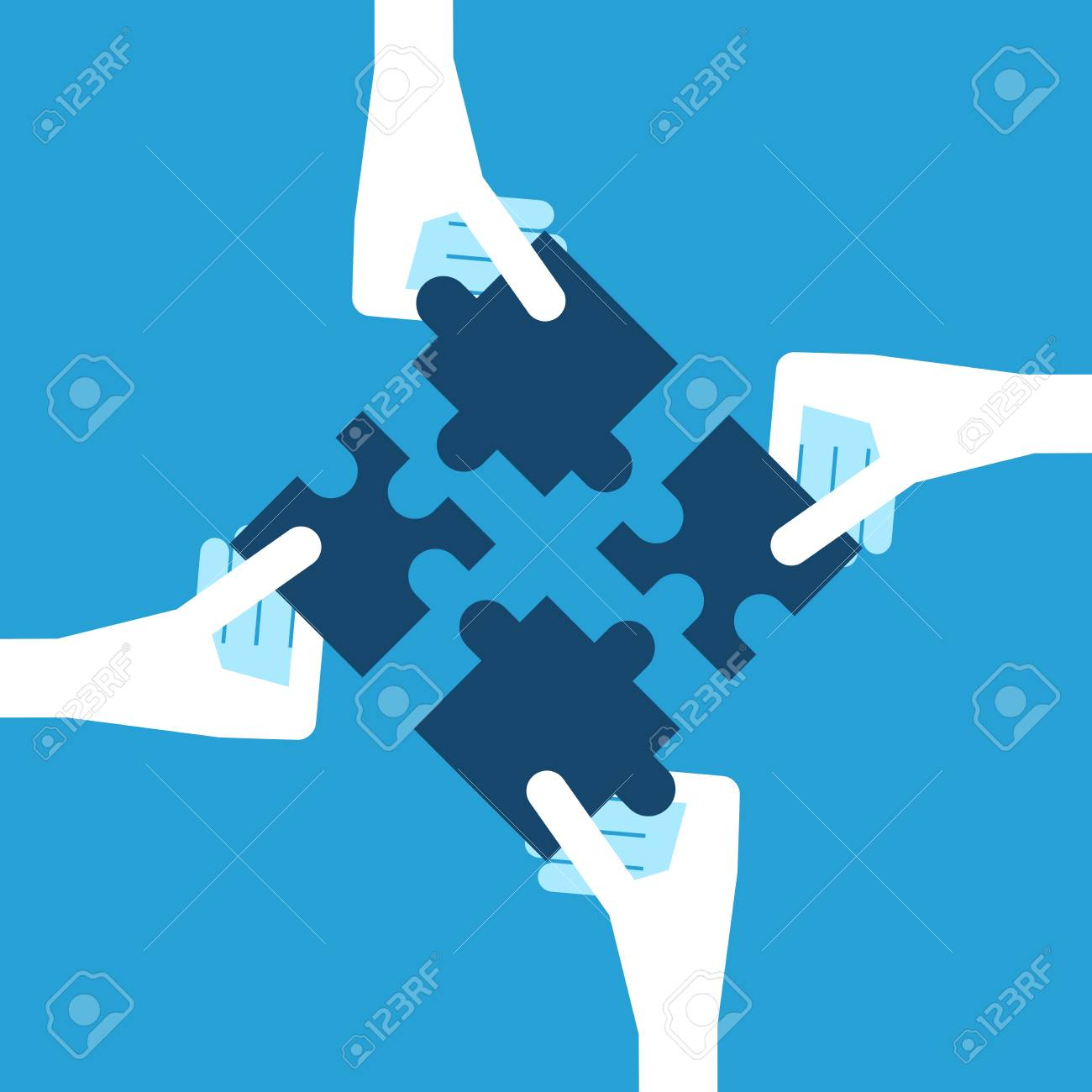 Four white hands holding blue puzzle pieces. Teamwork, partnership and solution concept. Flat design. EPS 8 vector illustration, no transparency - 70792067