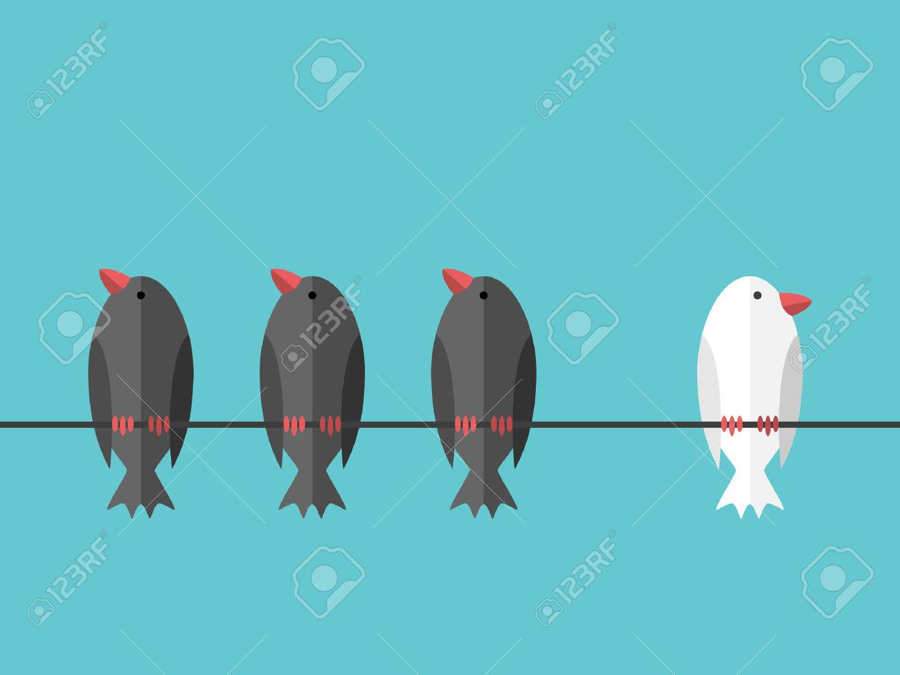Single white unique bird perching on wire aside of many black ones on blue sky background. Courage, will power and individuality concept. Flat design. EPS 8 vector illustration, no transparency - 70792073