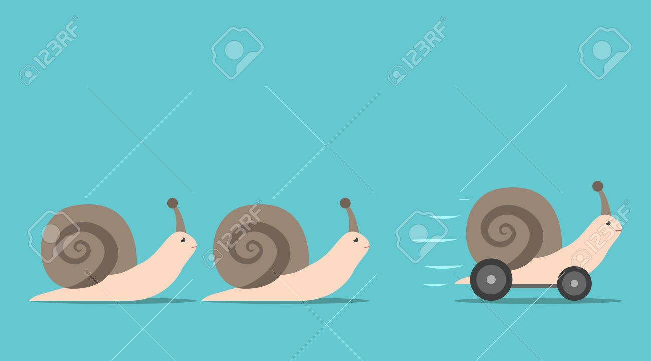 Unique successful fast moving snail with wheels in front of some slow ones. Competition, competitive advantage and innovation concept. Flat design. EPS 8 vector illustration, no transparency - 71609940