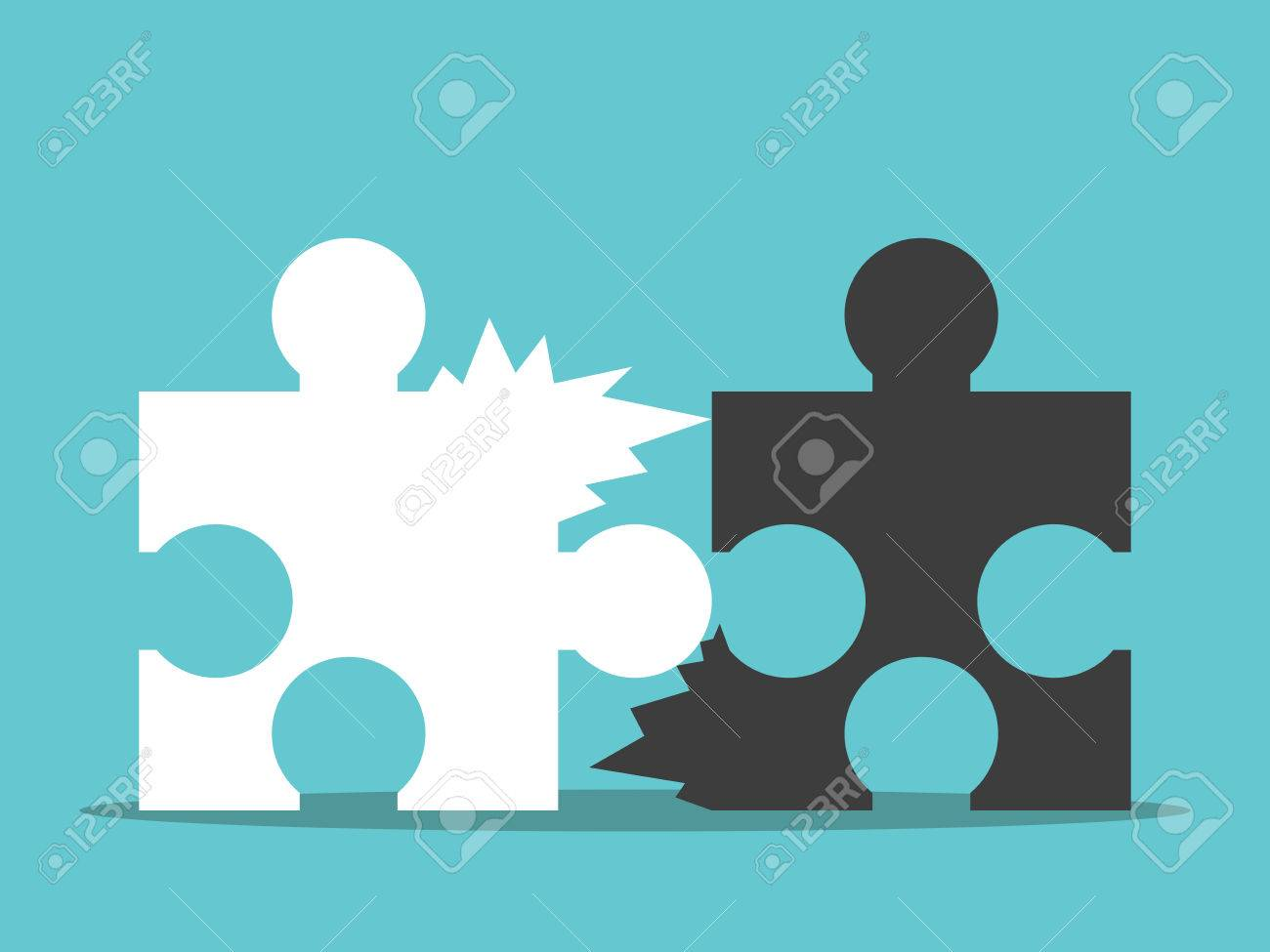two jagged puzzle pieces unable to be joined together bad team