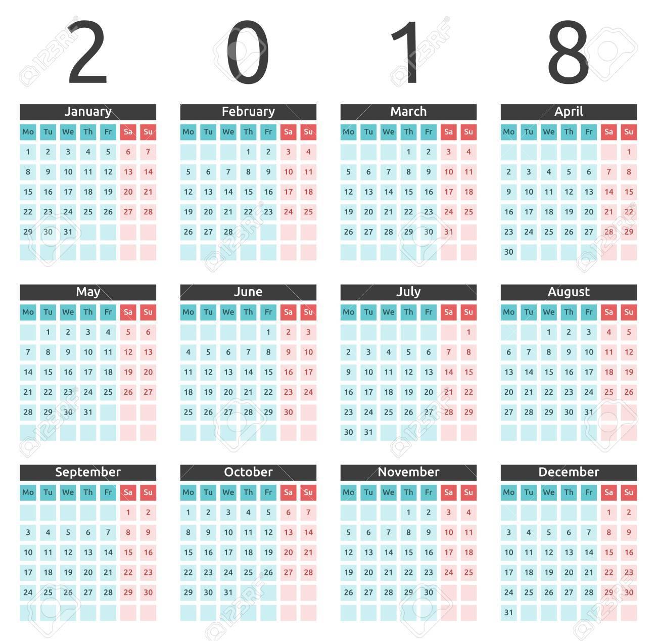 Calendario Internazionale.Calendario Murale Annuale Colorato Semplice Anno 2018 Settimana Inizia Il Lunedi Internazionale In Inglese Design Piatto Illustrazione Vettoriale