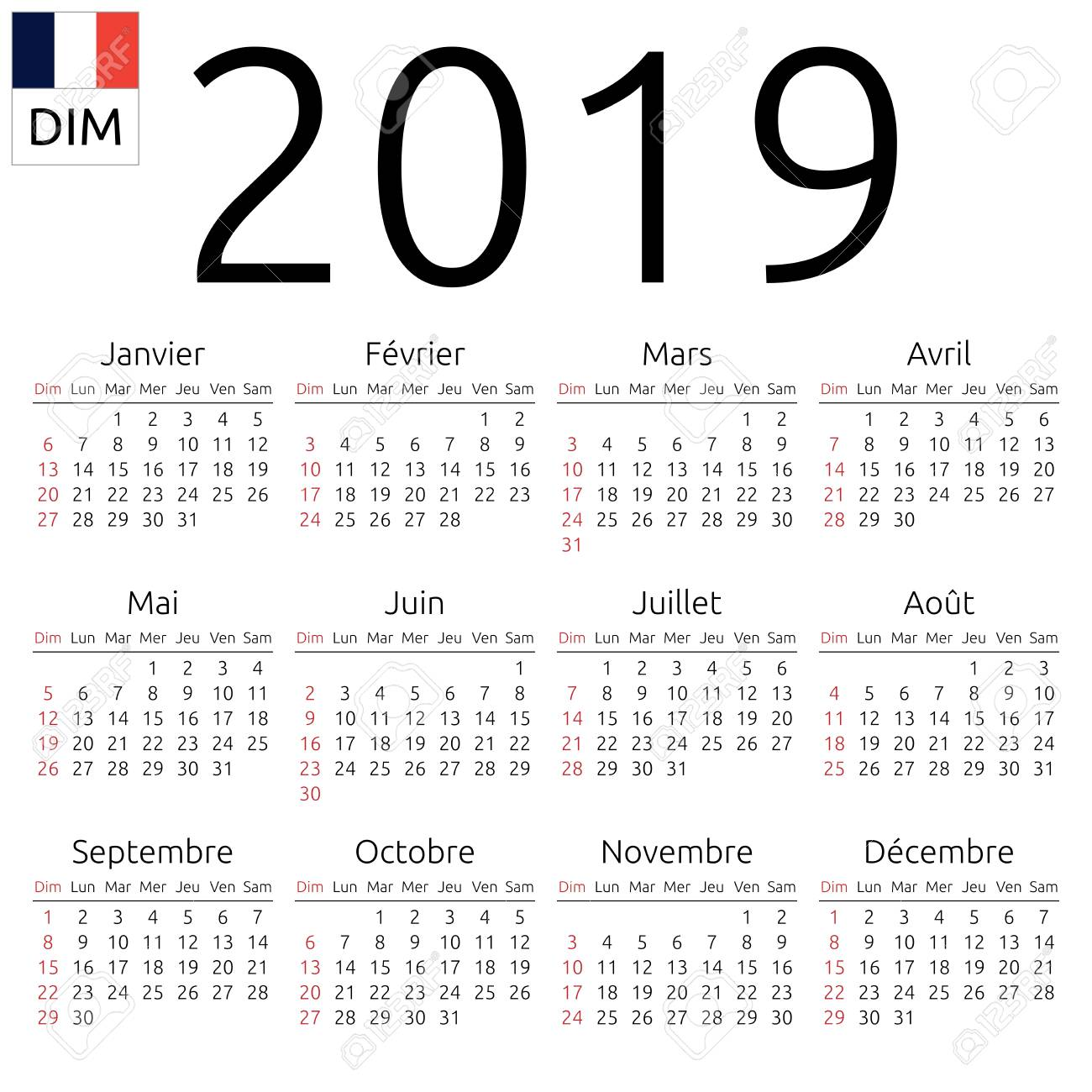 simple annual 2019 year wall calendar french language week starts on sunday canada