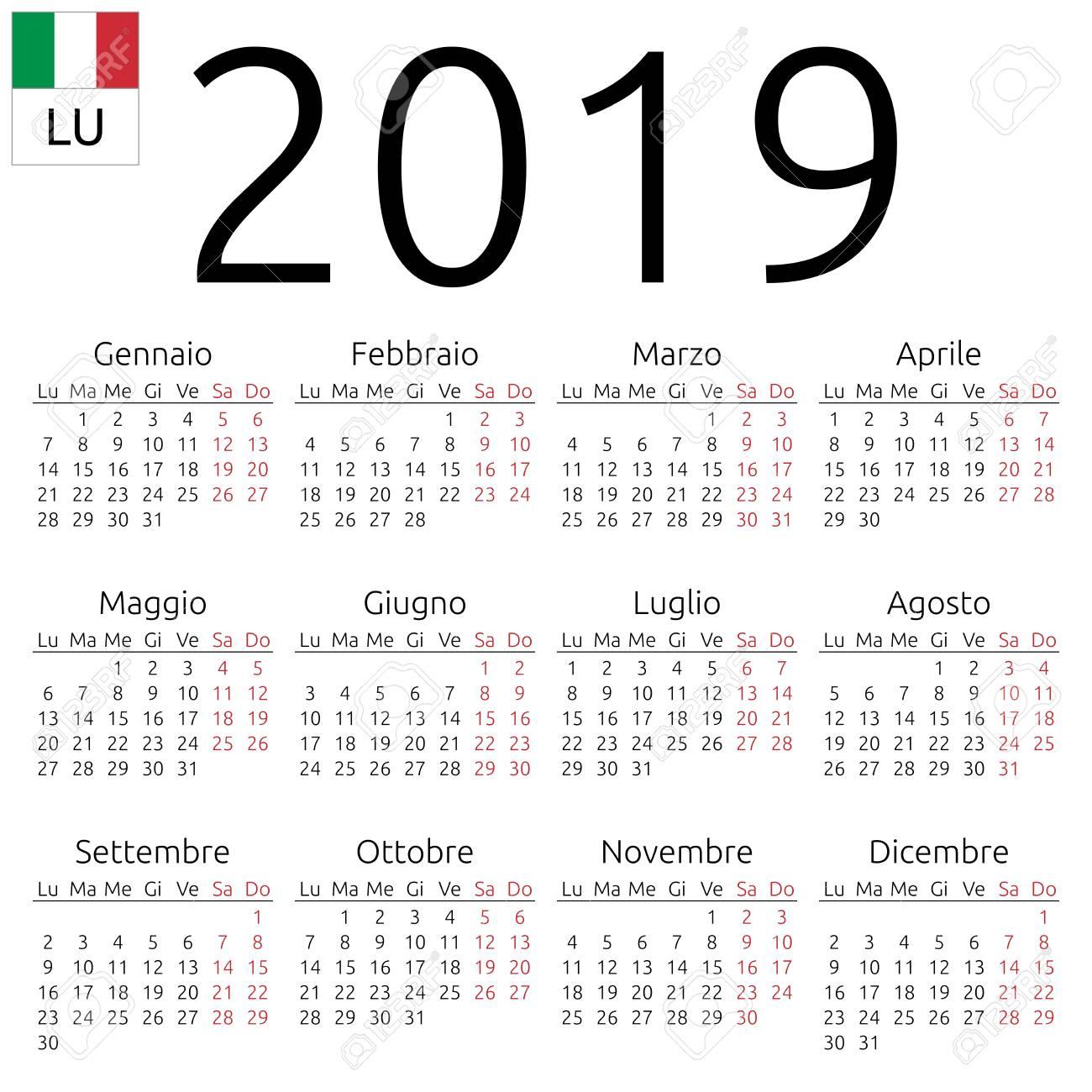 Italia Calendario.Calendario Murale Annuale Semplice Anno 2019 Lingua Italiana La Settimana Inizia Il Lunedi Sabato E Domenica Evidenziati Nessuna Festivita