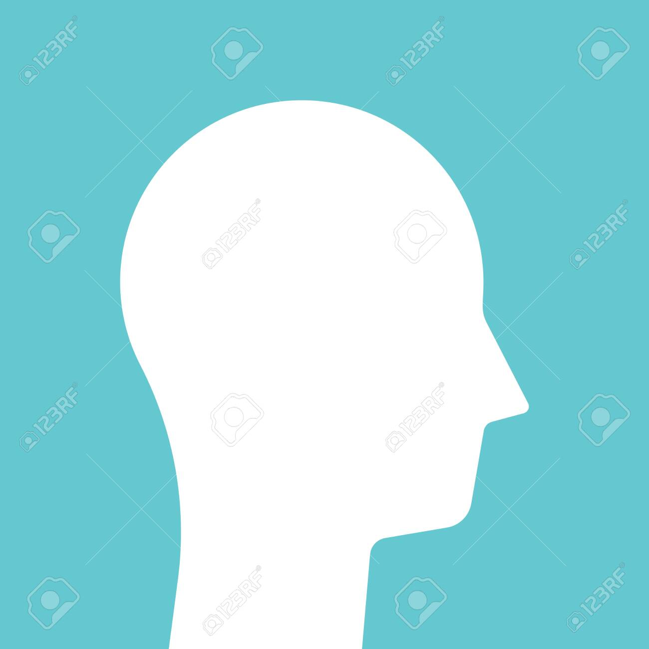 Male head on turquoise blue. White abstract simple geometric silhouette. Person, mind, intelligence, psychology, therapy concept. Flat design. EPS 8 vector illustration, no transparency, no gradients - 135302695