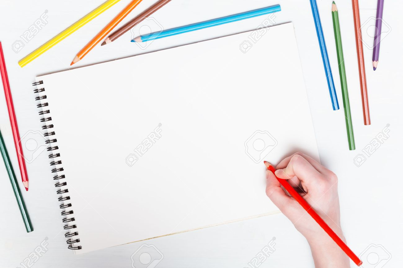 Girl Draws With Colored Pencils On Paper. Mockup Stock Photo   51349609  Colored Writing Paper