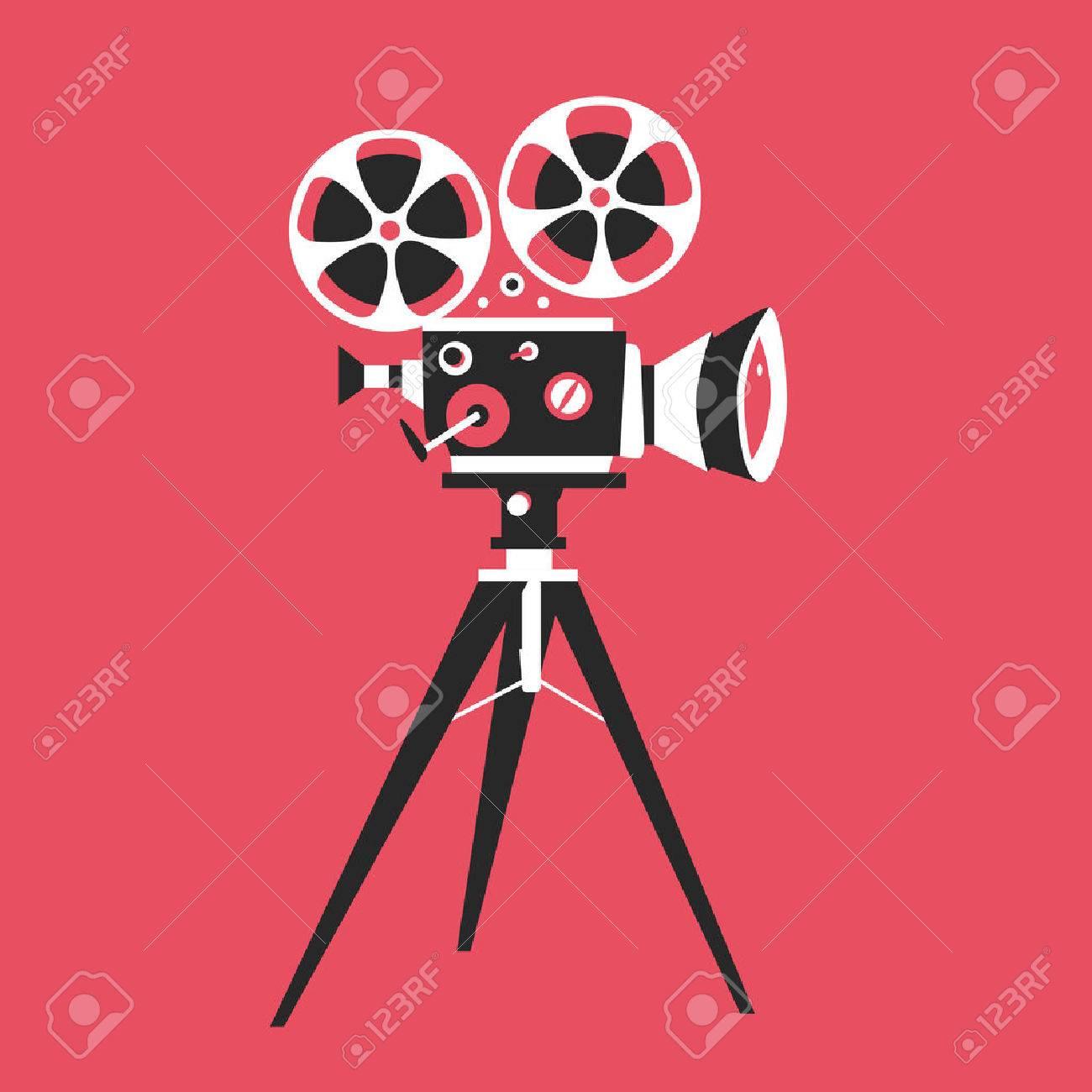 Retro movie projector poster  Cartoon vector illustration  Cinema