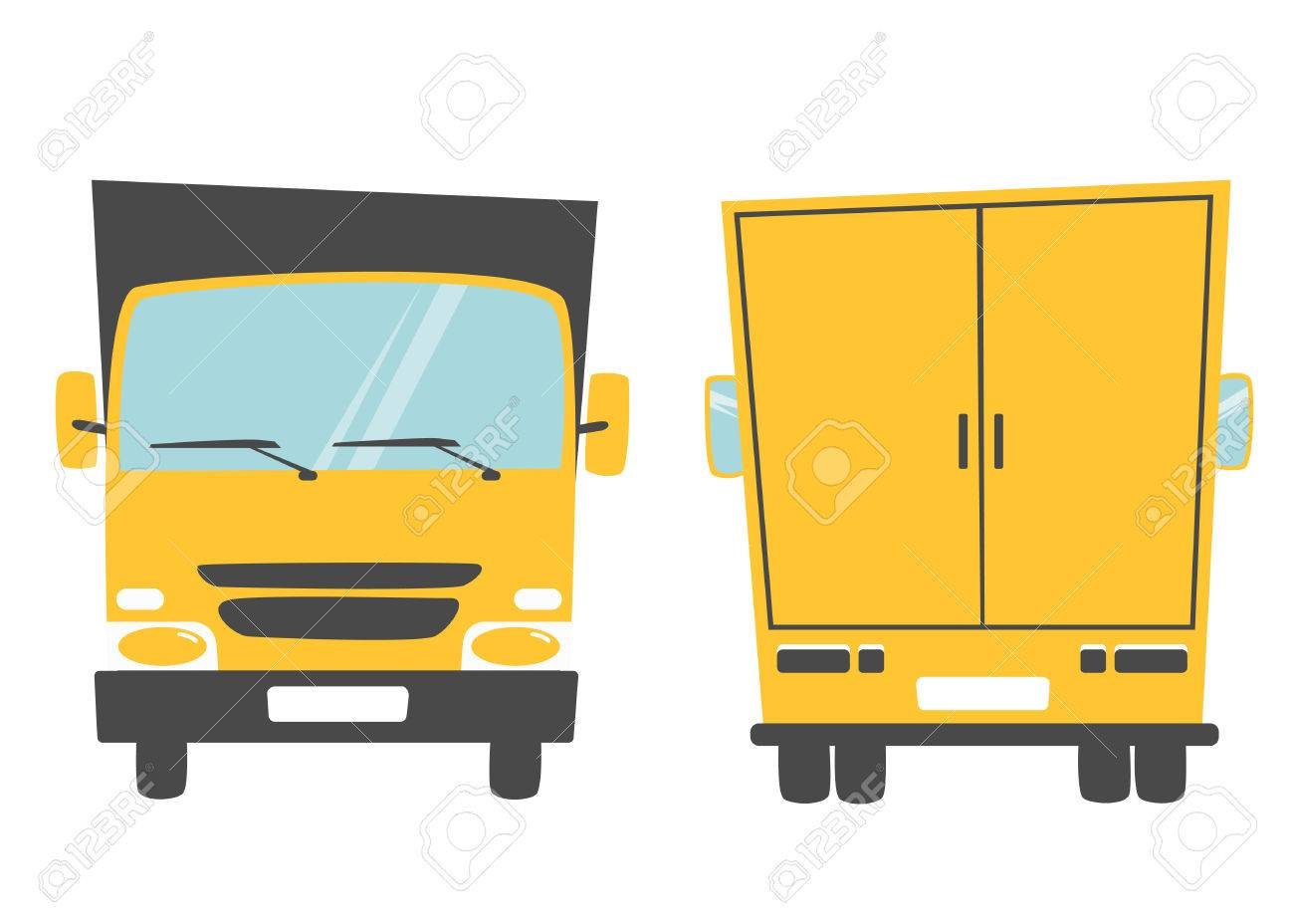 d39eb84c4df2ae Set of cargo truck. Cartoon vector illustration. Moving van. Moving truck.  Isolated