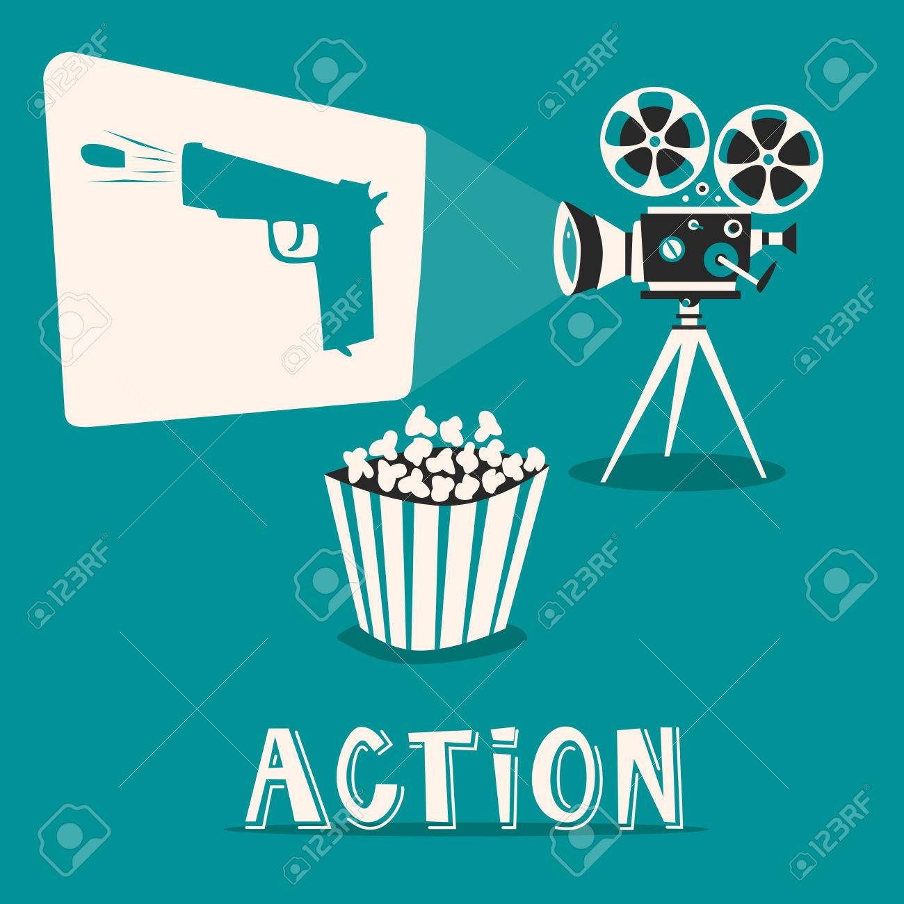 Action in the cinema  Intriguing film with popcorn  Shooting