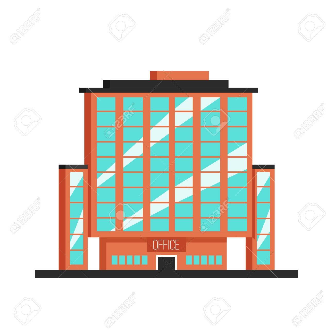 Office Building Flat Vector Illustration Constructivism Style