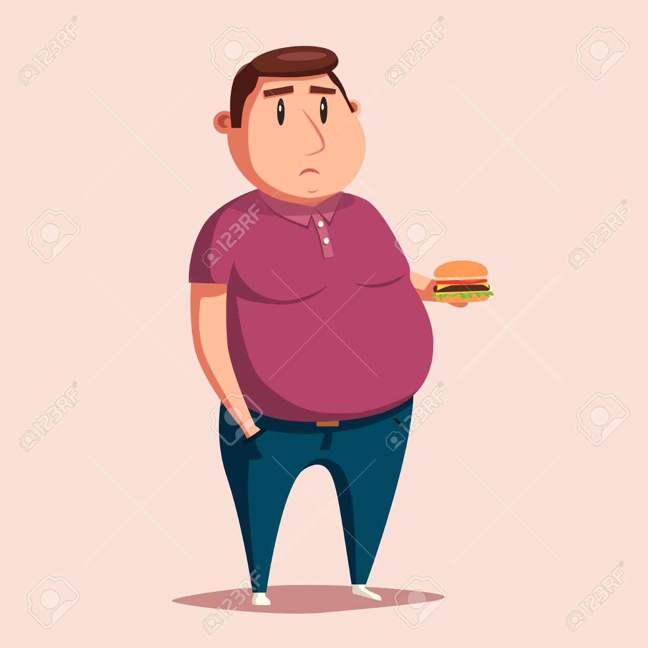 Hombre Gordo Con La Hamburguesa Ilustración Vectorial De Dibujos Animados Carácter Obesos Gordo Hombre Triste