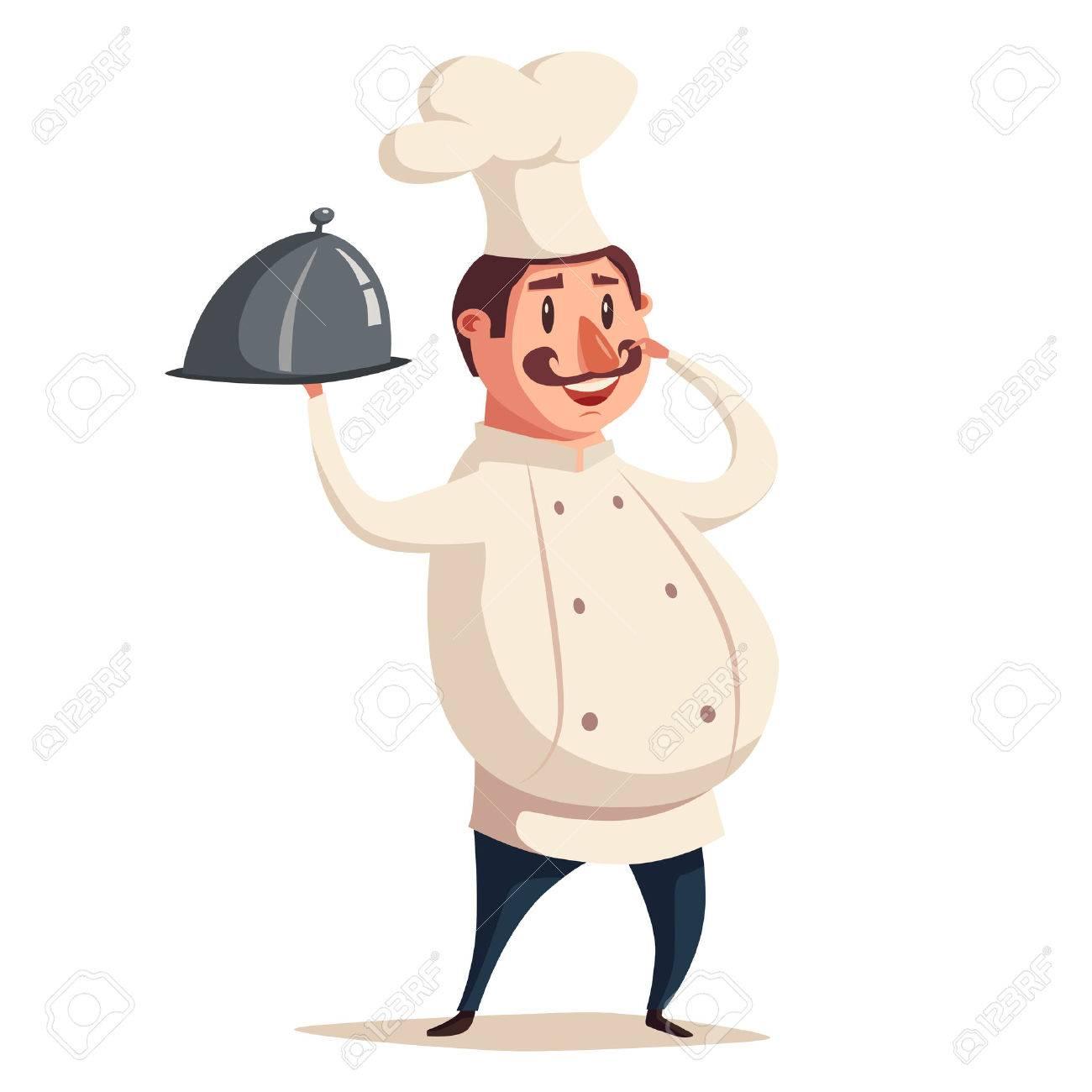 面白いシェフ、かわいいキャラクター。ベクトル漫画のイラスト。料理を