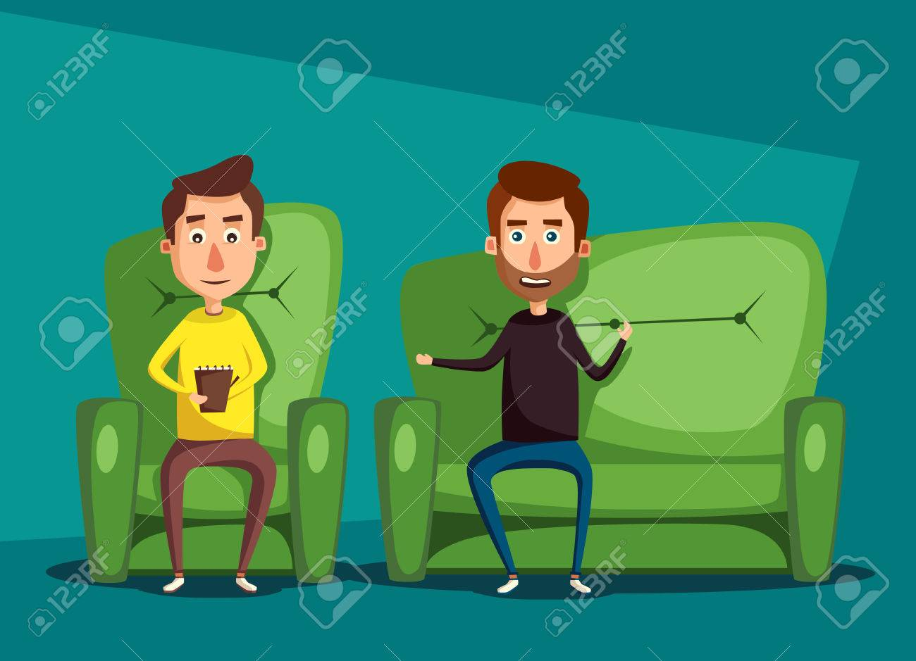 Patient Talking To Psychologist Cartoon Illustration Psychotherapy