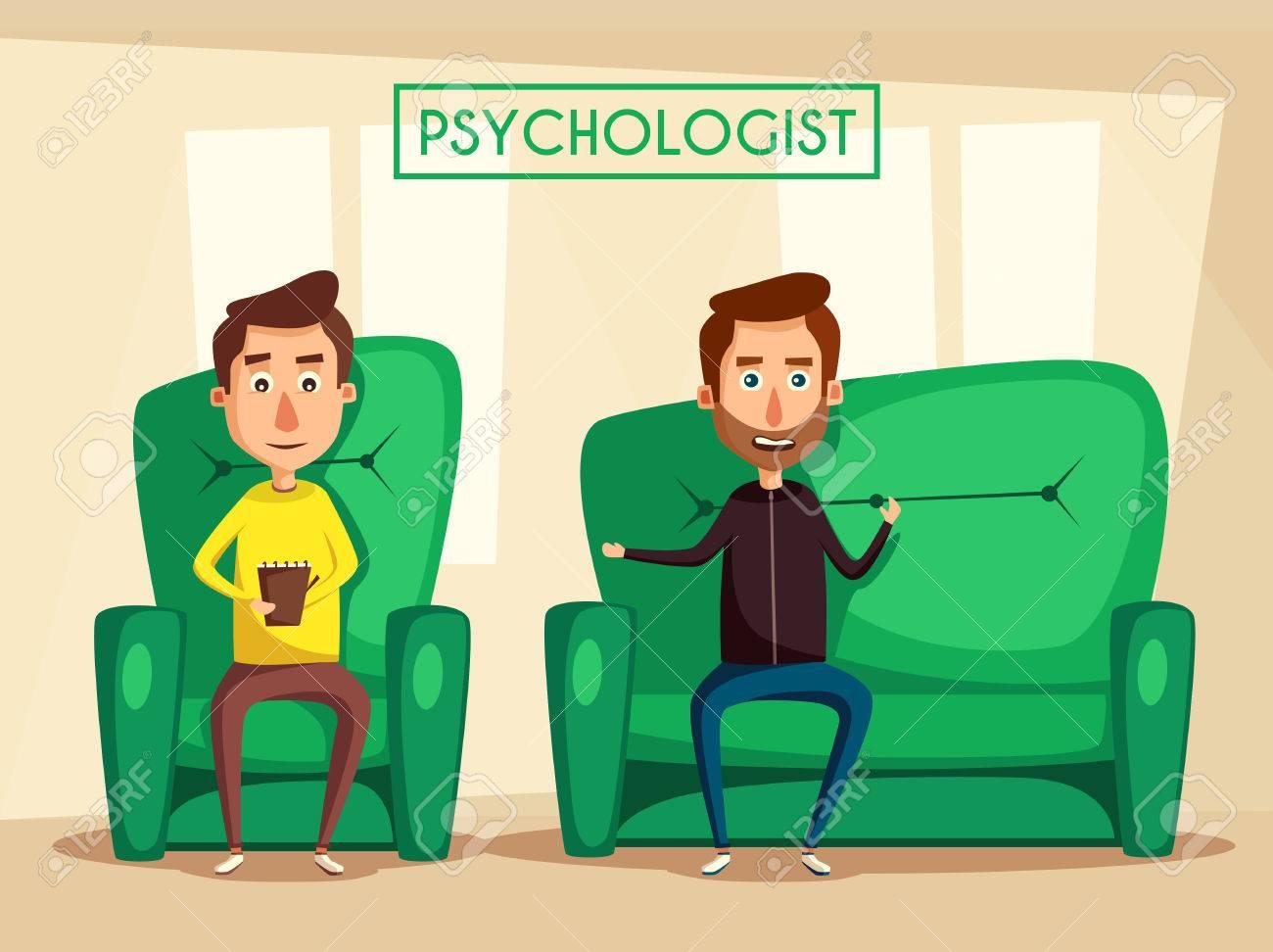 Patient Talking To Psychologist Cartoon Vector Illustration