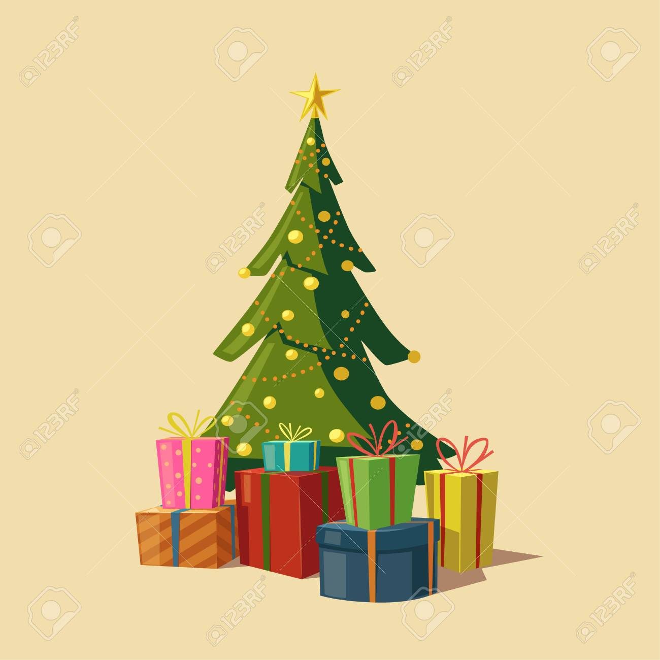 Christmas Tree With Gifts Cartoon Vector Illustration Star