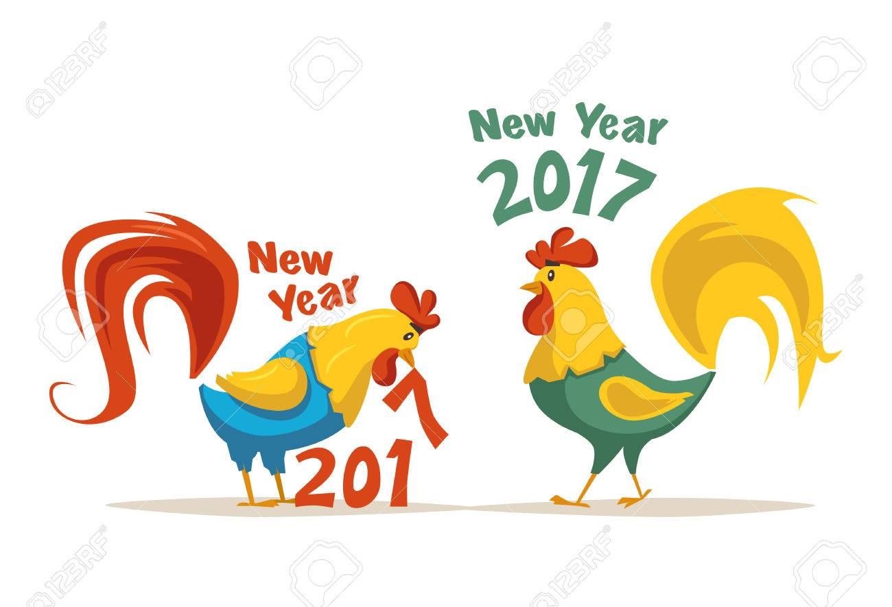 Chinese New Year 2017 Symbol. Fire Rooster. Cartoon Vector ...