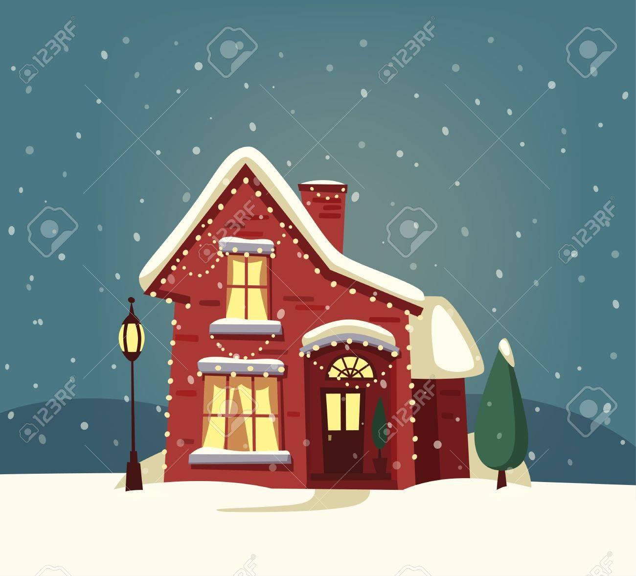 Christmas House.Merry Christmas House Cartoon Vector Illustration Happy New