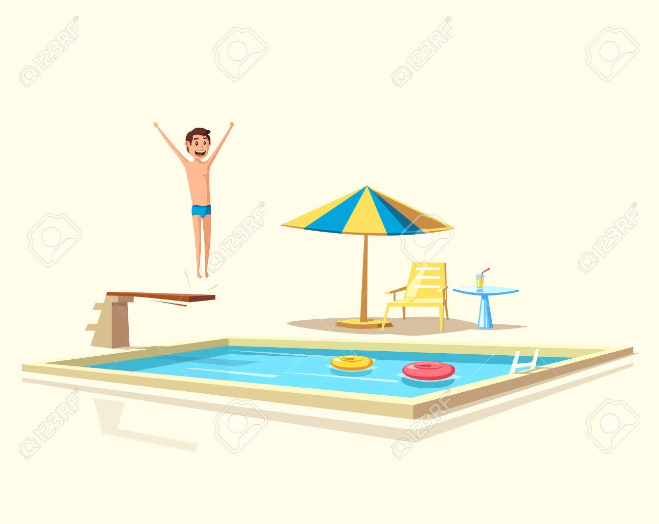 Man Jumping. Swimming Pool With A Diving Board. Cartoon Vector ...