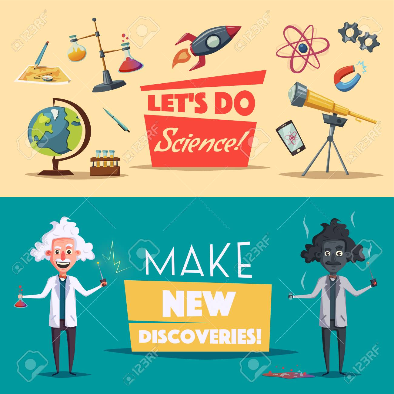 crazy old scientist funny character cartoon vector illustration