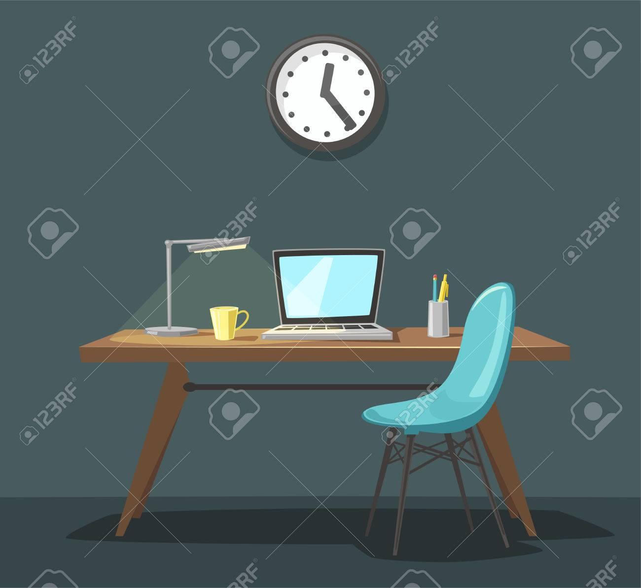 Modern Workplace Office Work Cartoon Vector Illustration Royalty