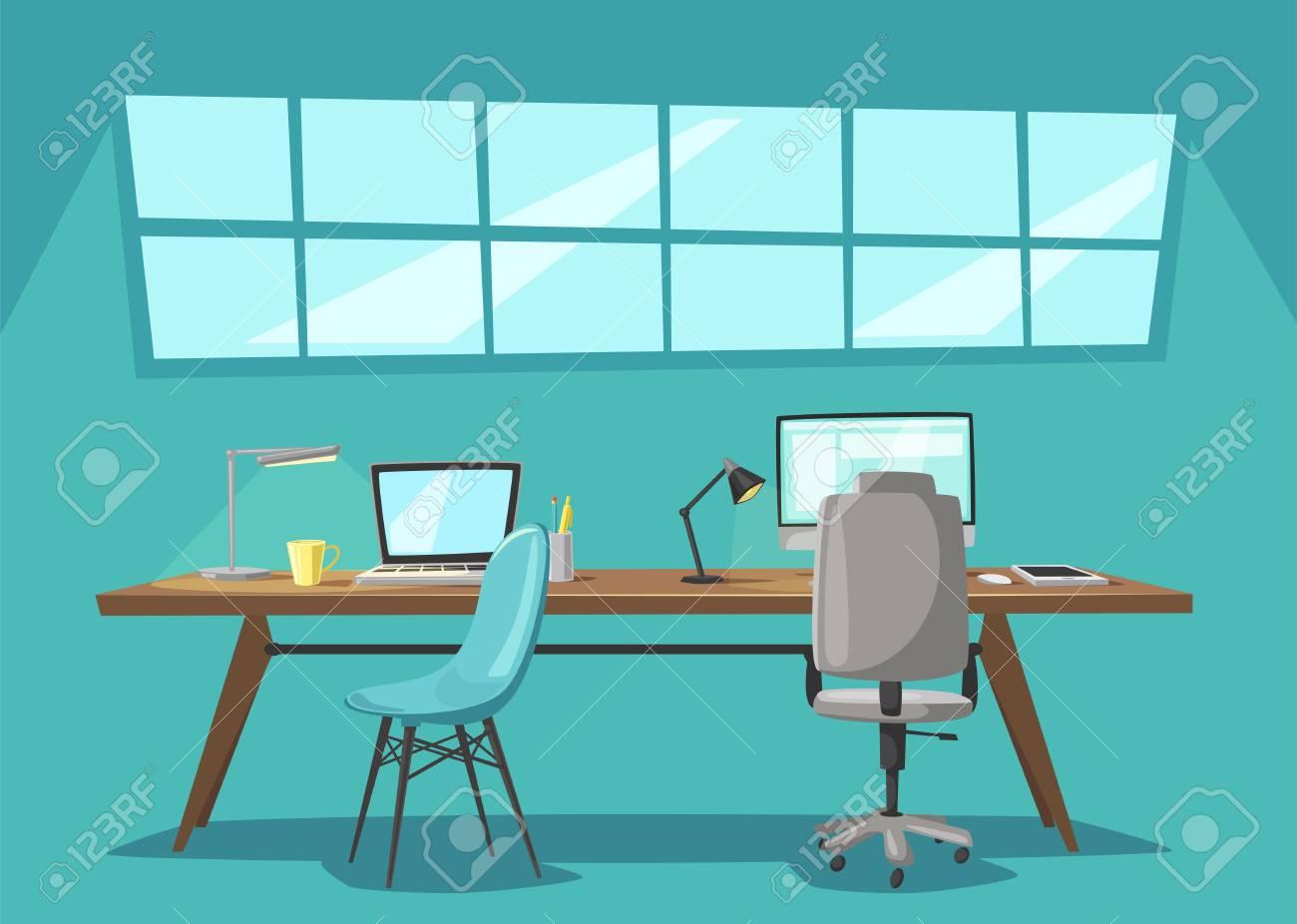 Lieu de travail moderne. Bureau de travail. Illustration de vecteur de  dessin animé espace de travail de concepteur. Meubles dans l\'intérieur.  Pour le ...