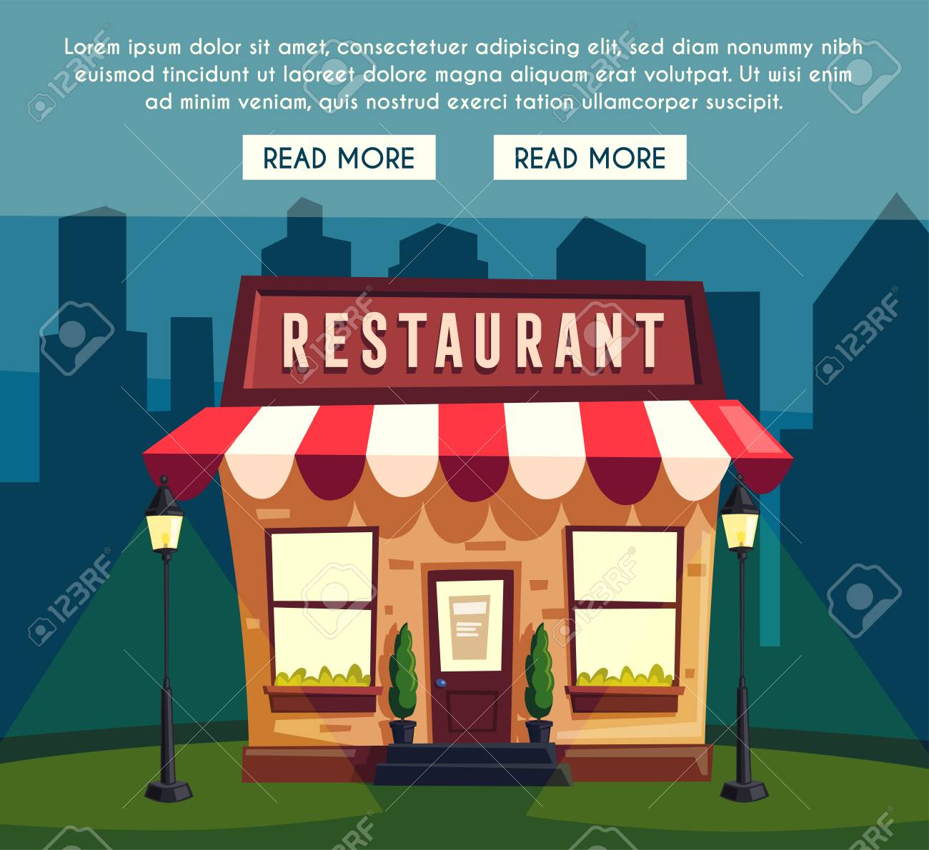 Restaurant Or Cafe At Night Exterior Building Cartoon Illustration Food And Drink Stock