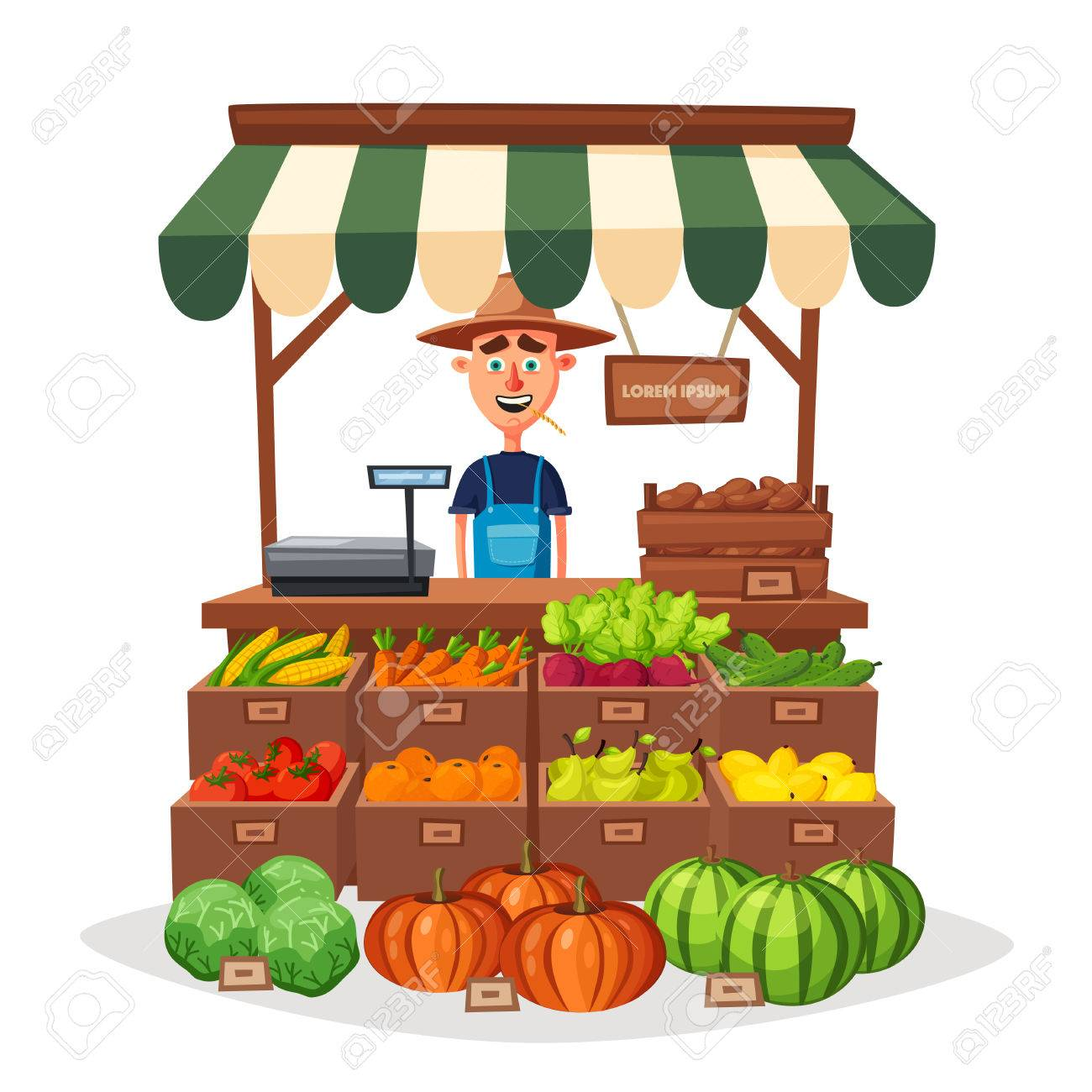 Tienda De Granja Mercado Local De Establos Venta De Verduras Ilustración Vectorial De Dibujos Animados Aislados En Fondo Blanco Comida Fresca