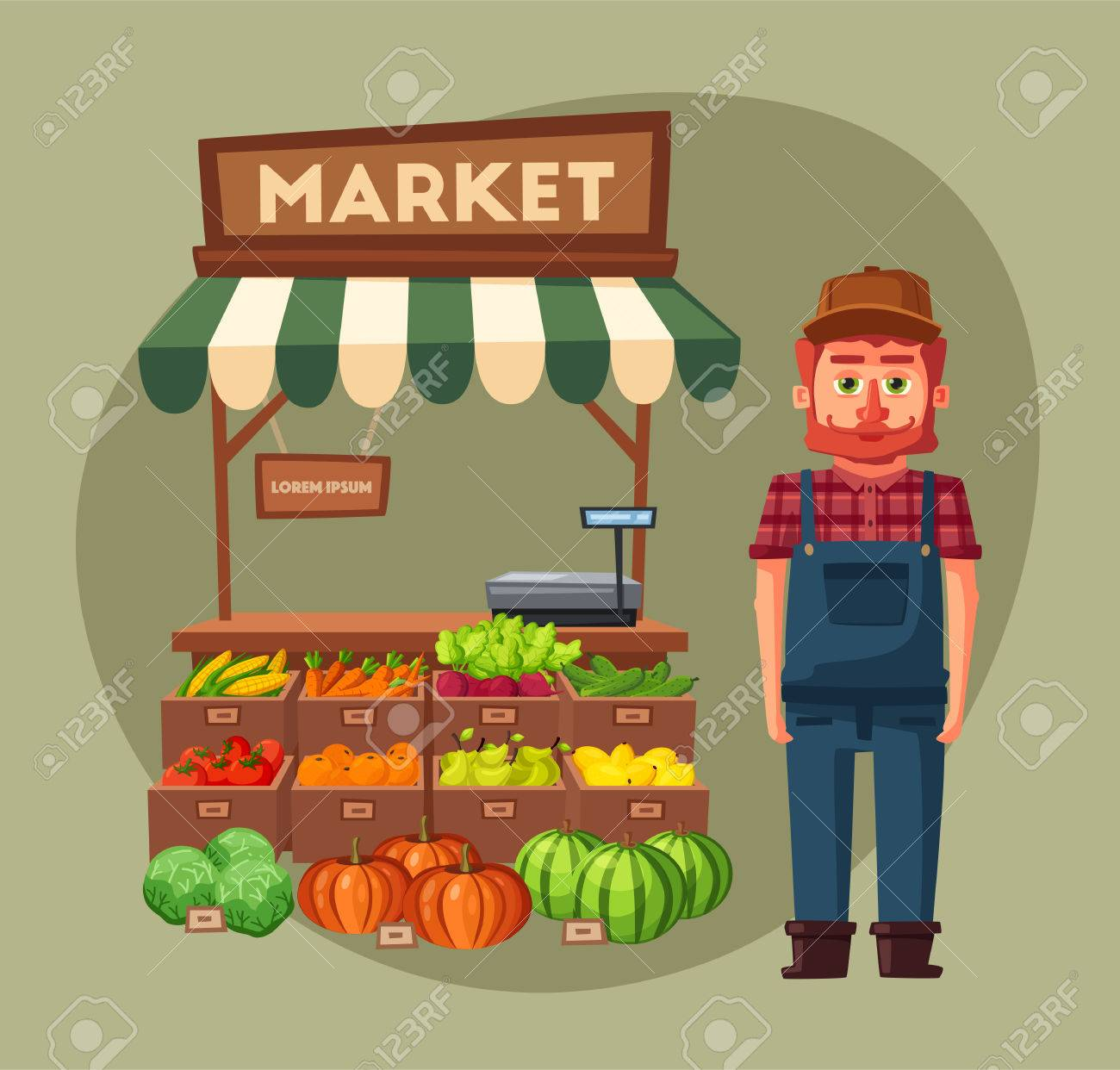 Tienda De Granja Mercado Local De Establos Venta De Verduras Ilustración Vectorial De Dibujos Animados