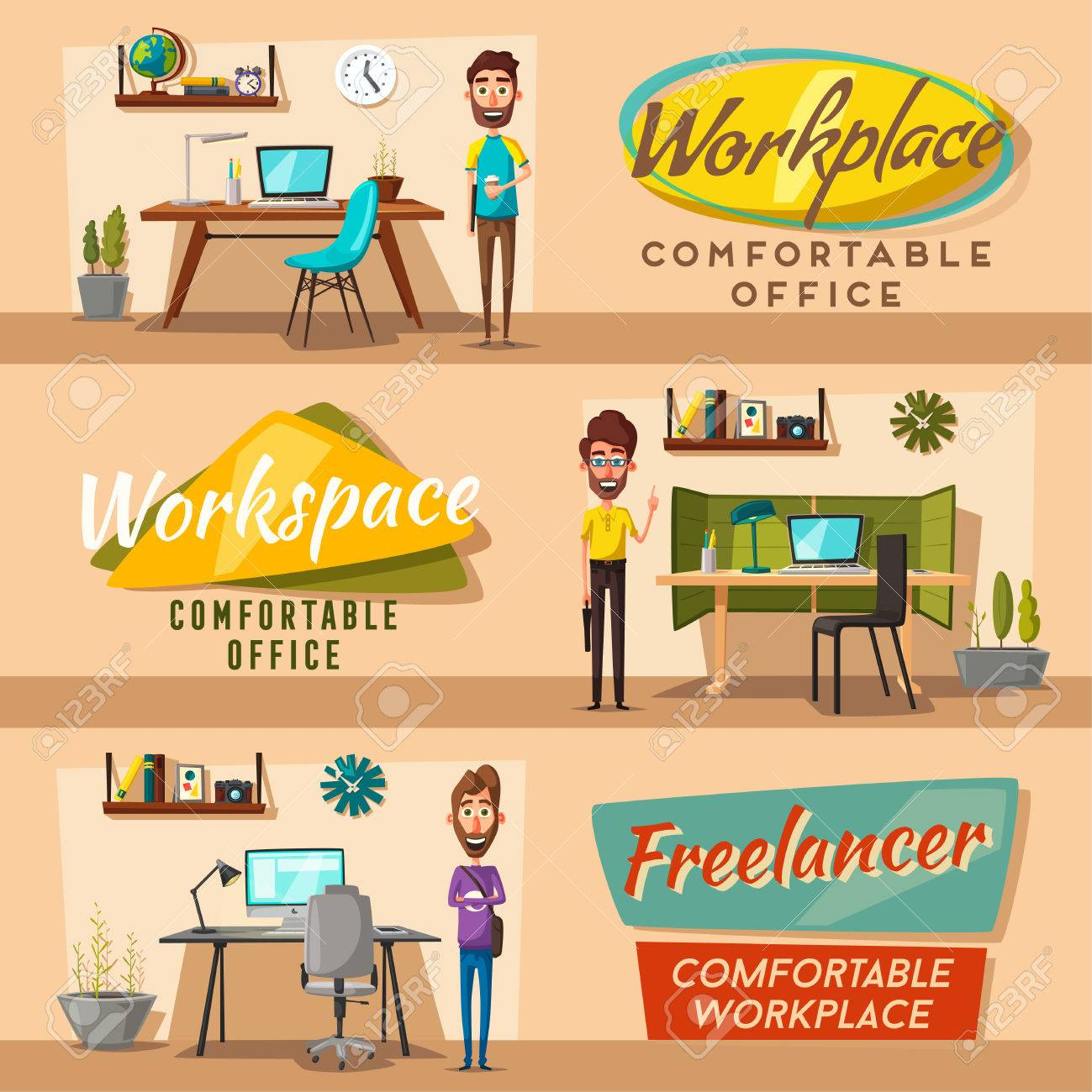 Modern Workplaces Creative Characters Office Work Cartoon