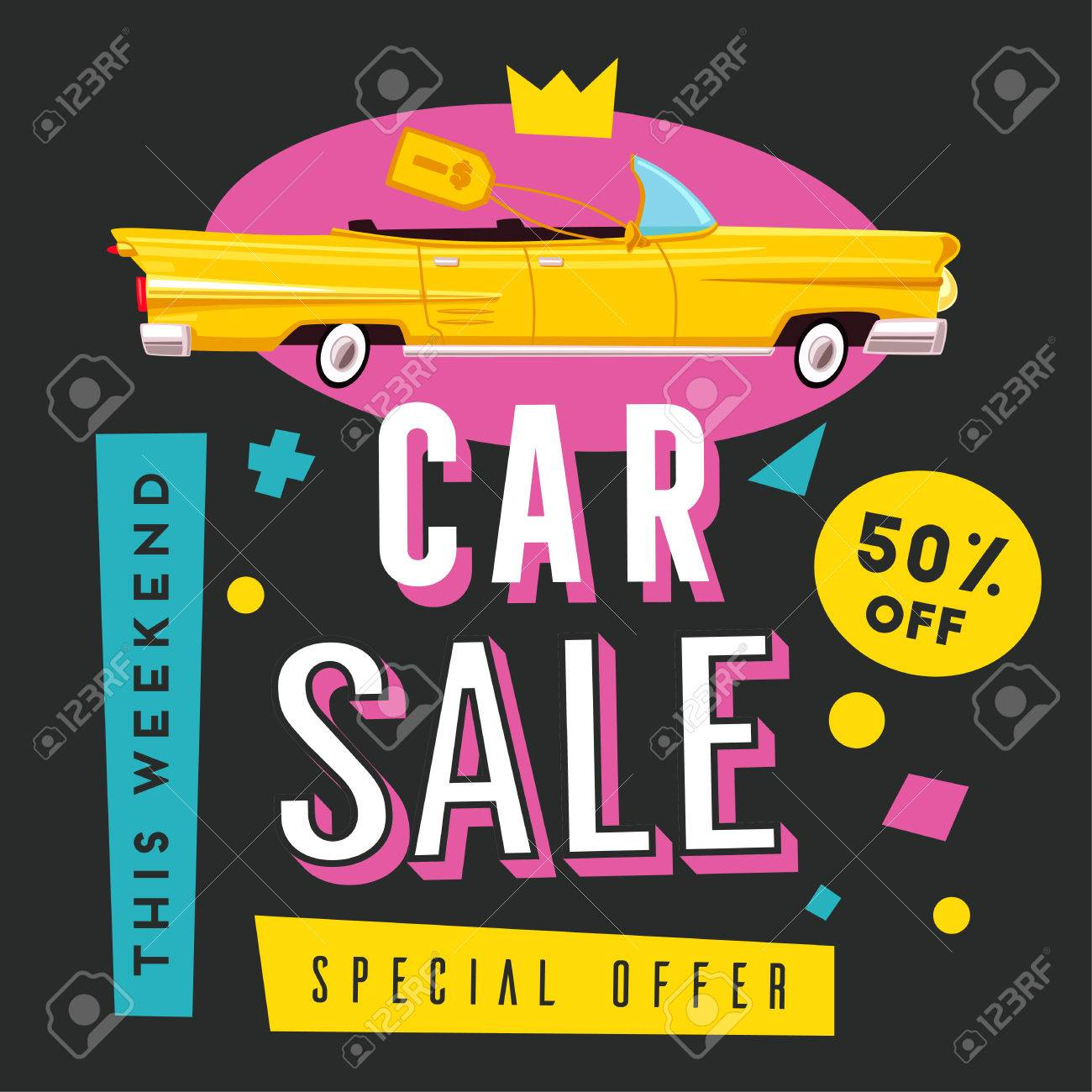 Car Sale Banner. Vintage Auto. Cartoon Vector Illustration Royalty ...