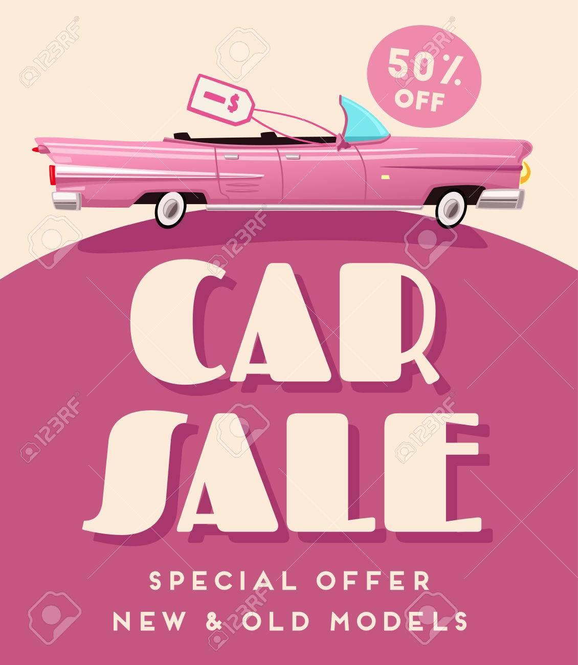 Car Sale Banner. Vintage Auto. Cartoon Vector Illustration. Shop ...