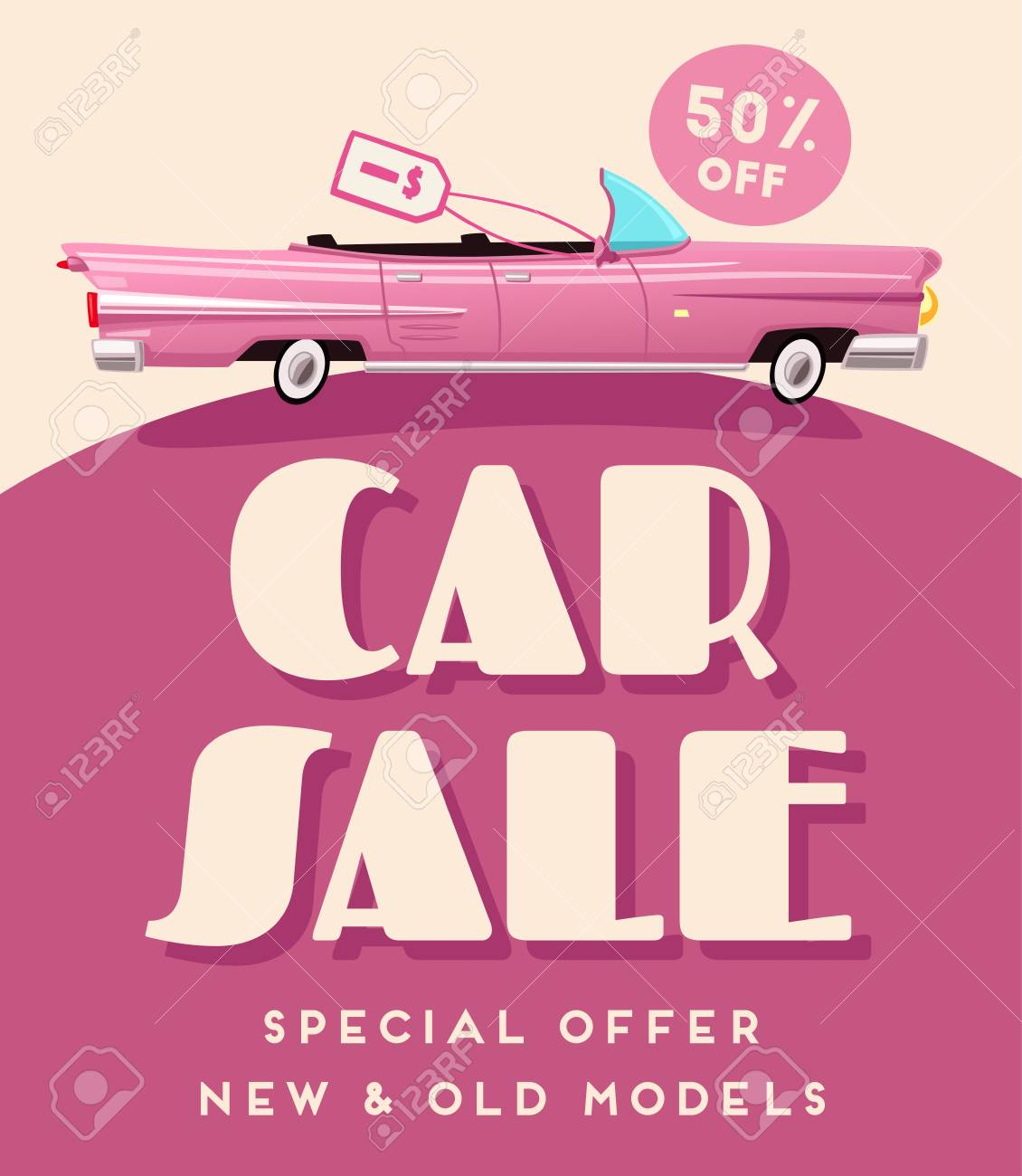 Car Sale Banner. Vintage Auto. Cartoon Vector Illustration Stock ...