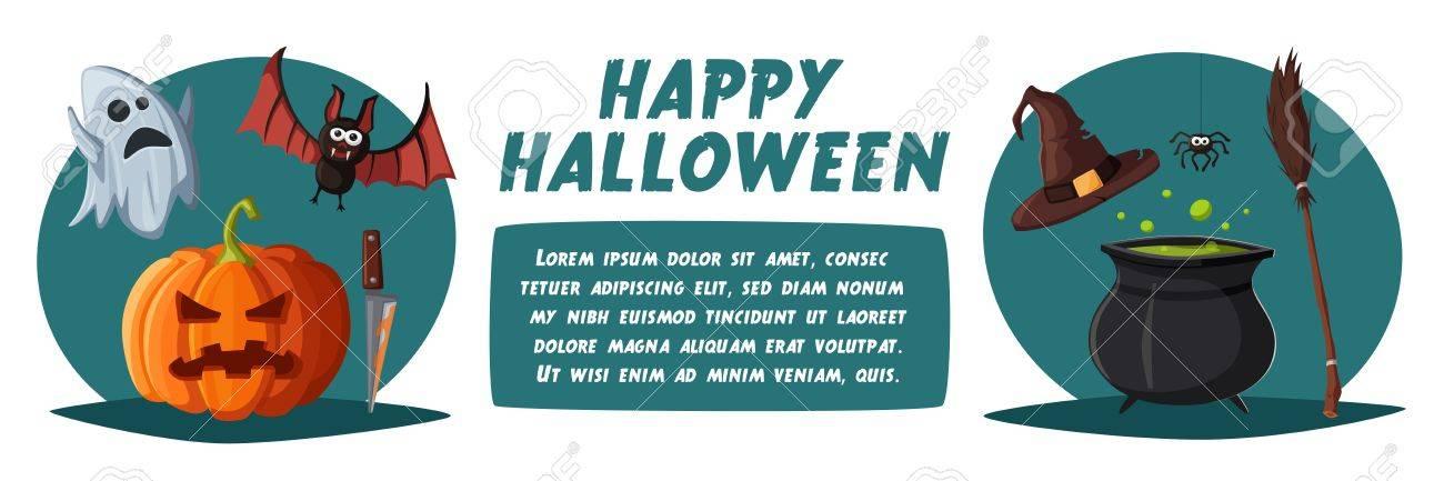 happy halloween poster cartoon vector illustration old house