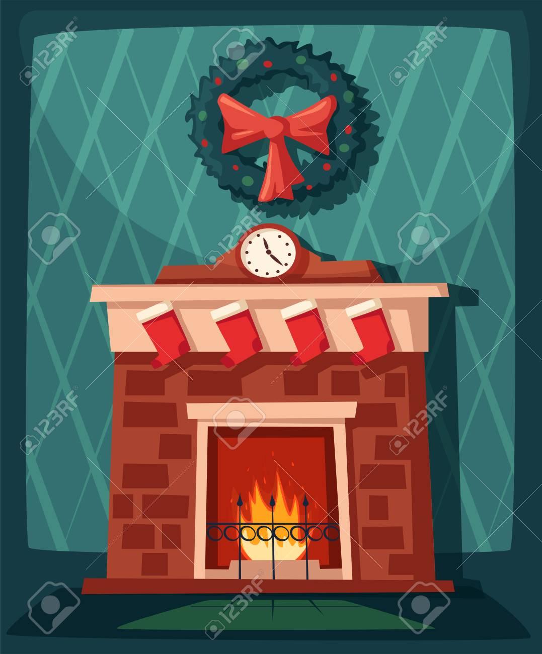 Joyeux Noel Cheminee Et Arbre Avec Des Decorations Illustration De