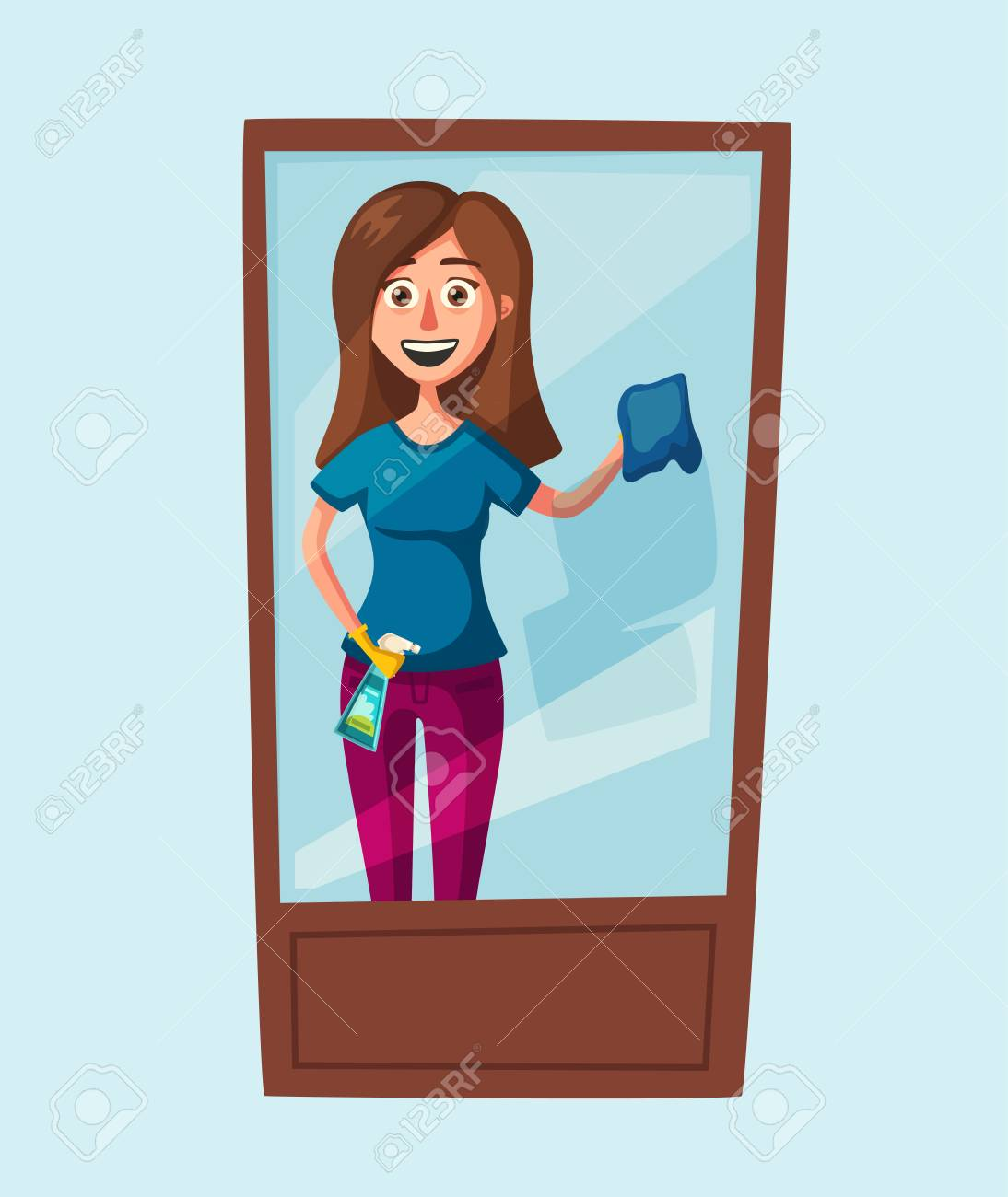 Vecteur Gratuite | Femme Au Foyer, Nettoyage Des Fenêtres