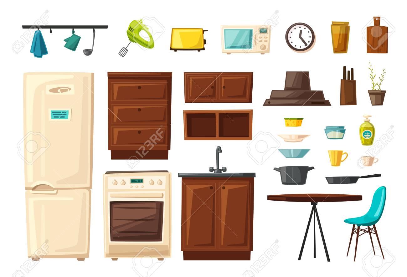 Conjunto de interior de cocina con muebles y herramientas. Ilustración de  vector de dibujos animados