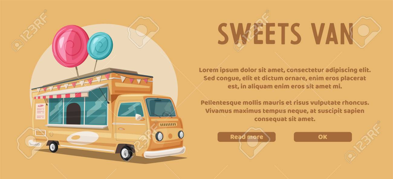 Retro Street Food Van Vintage Sweets And Candy Truck Cartoon Royalty Free Cliparts Vectors And Stock Illustration Image 99072811