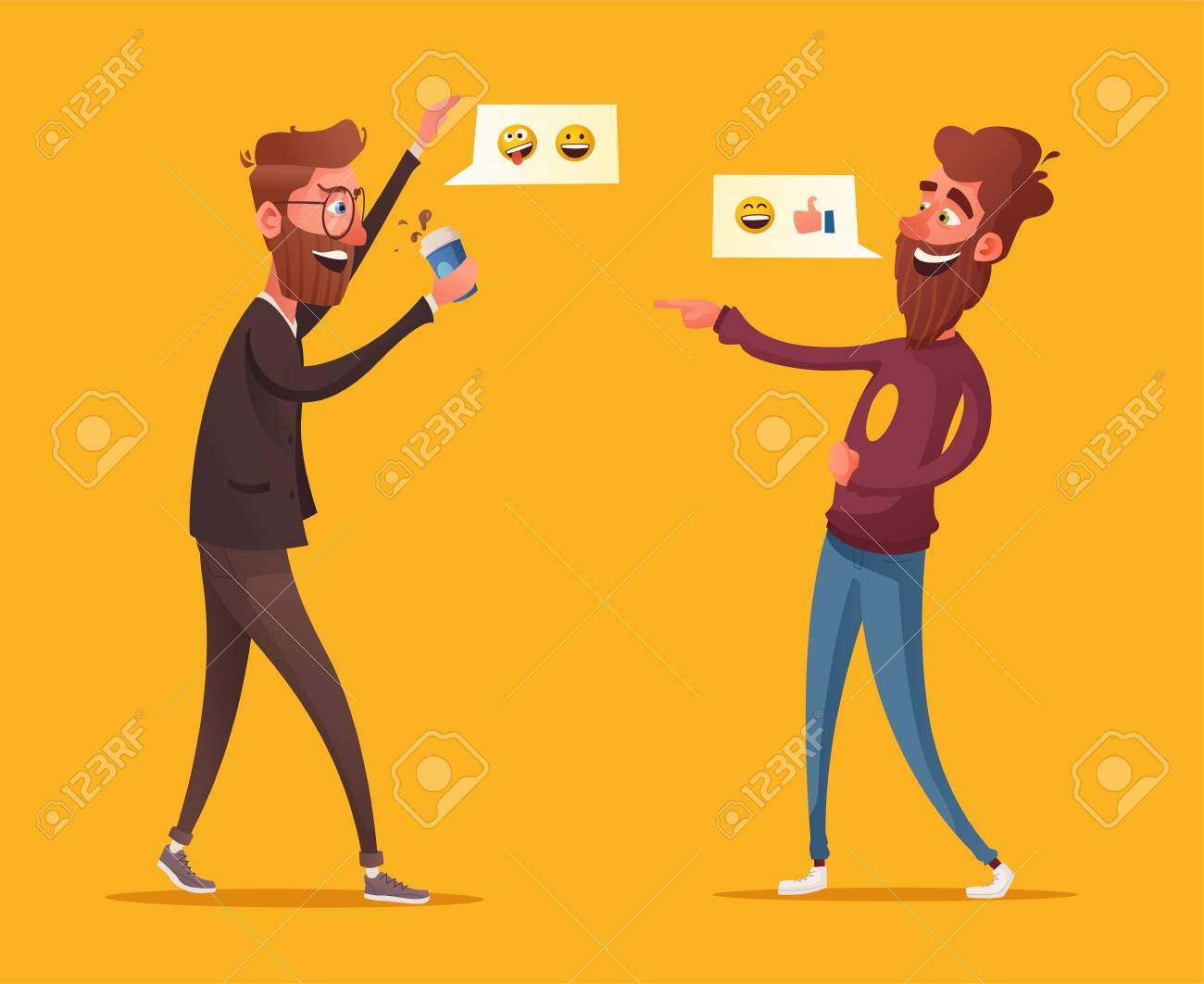 Two friends or colleagues having fun. Cartoon vector illustration. Loud laughter. Funny joke. Two bearded characters in office. Communicating male - 104910026