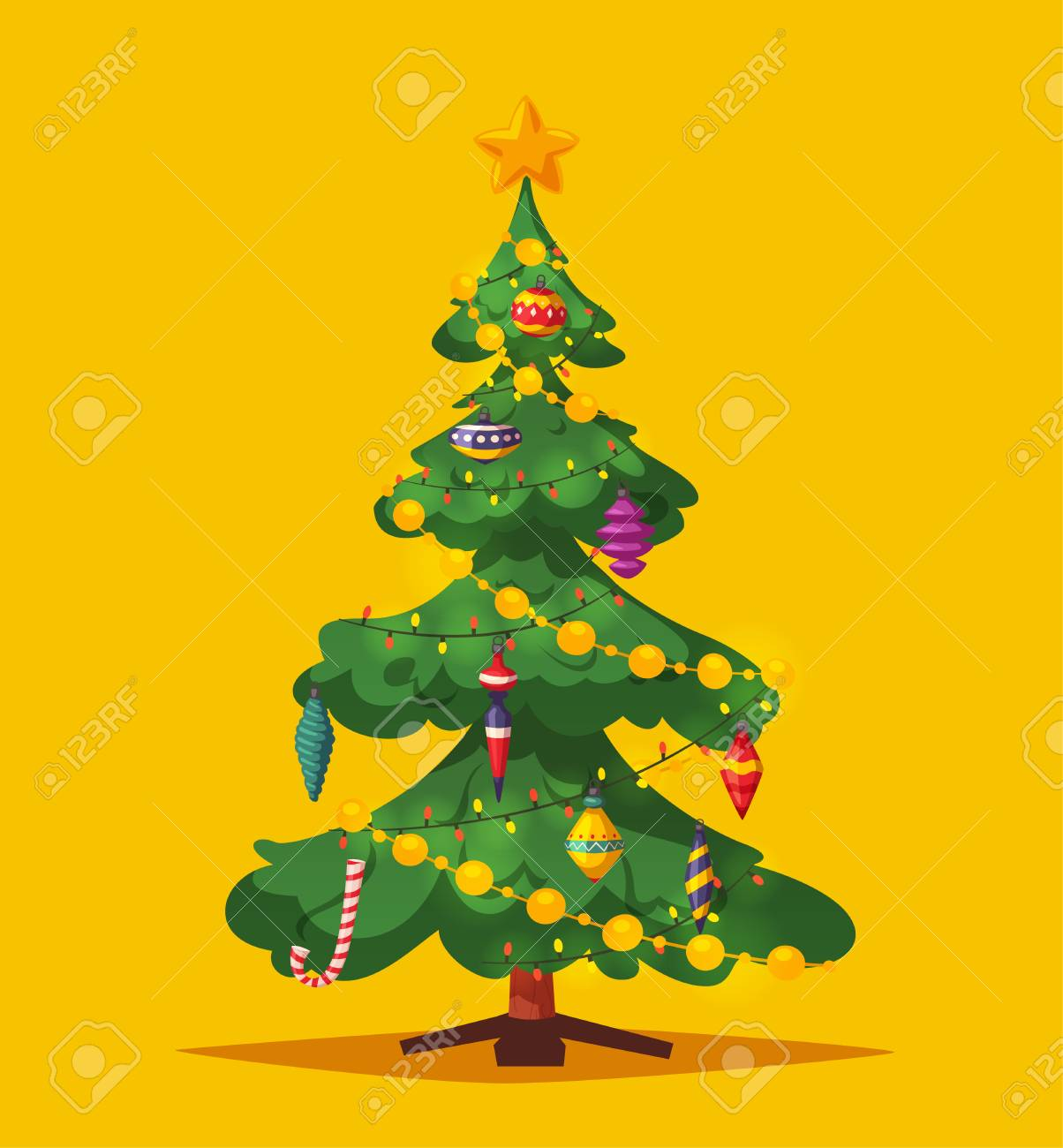 Beautiful Christmas Tree Cartoon Vector Illustration Traditional Royalty Free Cliparts Vectors And Stock Illustration Image 112679249