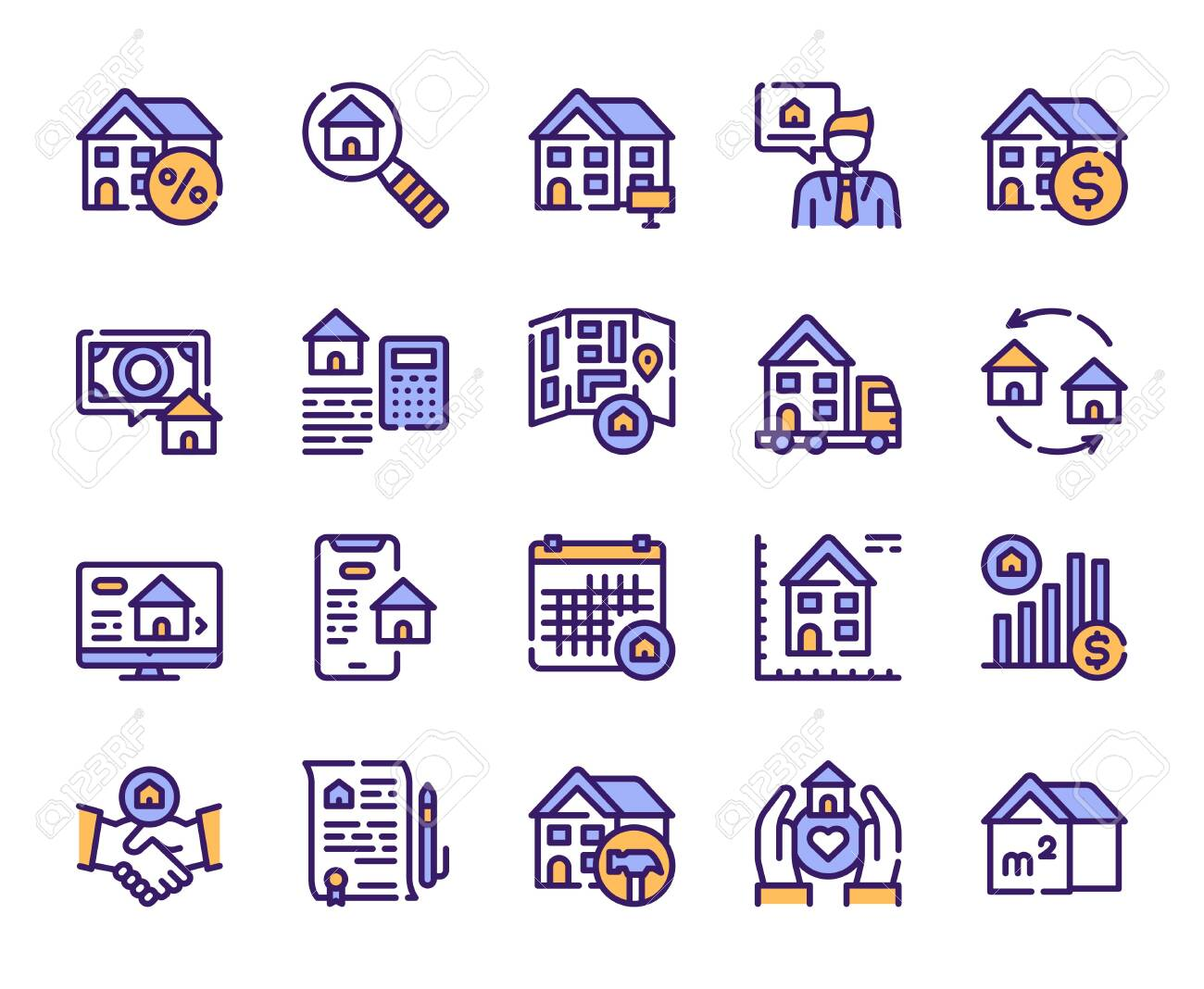 Real estate linear color vector icons set. House for rent and sale blue contour symbols. Moving, home renovation, realtor, mortgage. Commercial property outline illustrations collection - 136783369