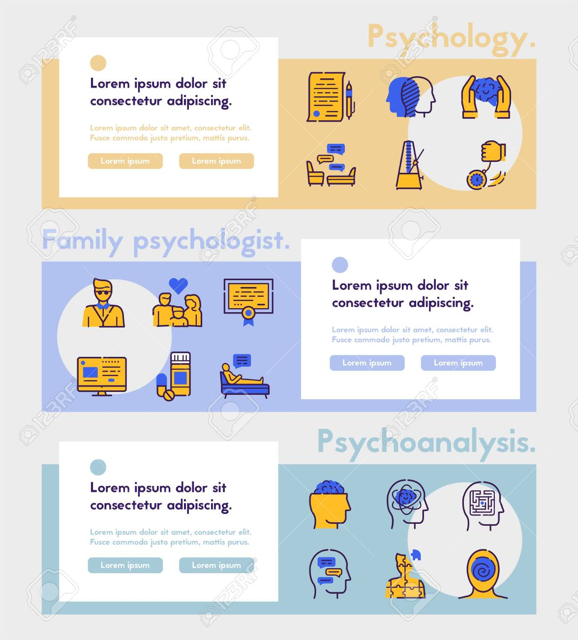 Psychology items color linear icons set. Psychotherapy concept. Medical equipment symbols pack. Hypnosis, medicine, treatment. Mental health design elements. Isolated vector illustrations - 136448502