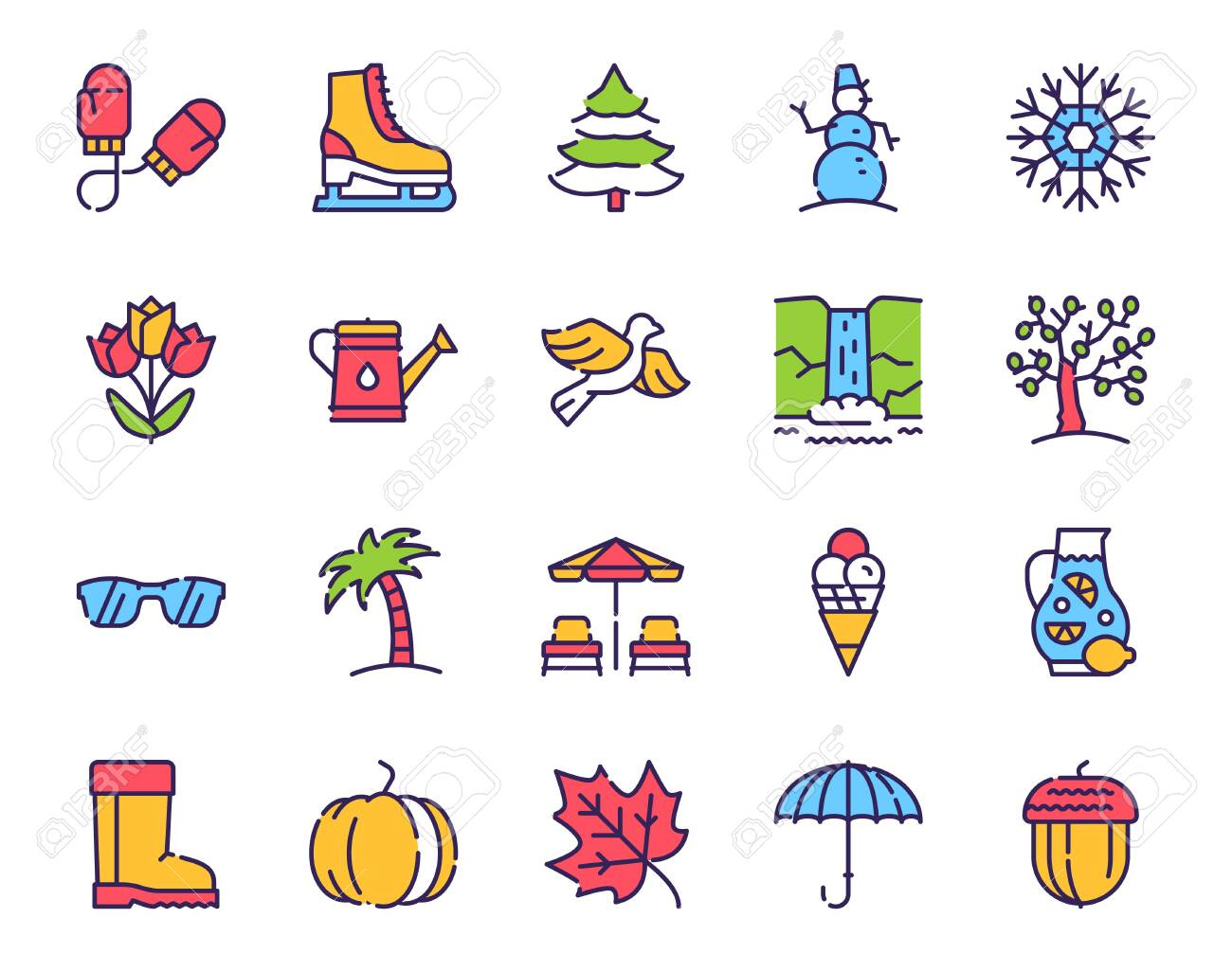 Seasons items color linear icons set. Winter, spring, summer..