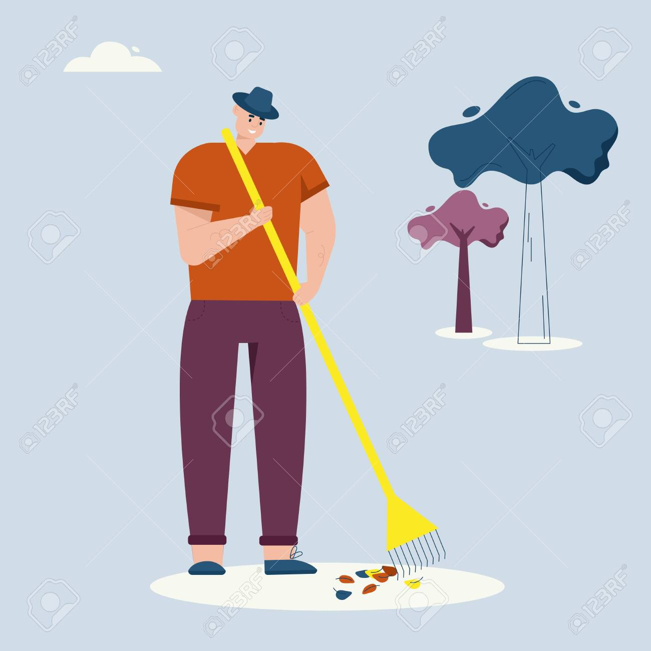 Man rakes autumn leaves, cleaning lawn. Farmer works on farm. Vector character illustration of village lifestyle, agriculture - 151135157