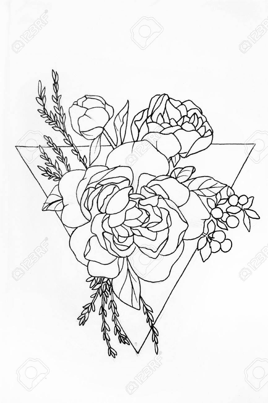 Sketch Of A Rose In A Triangle On A White Background