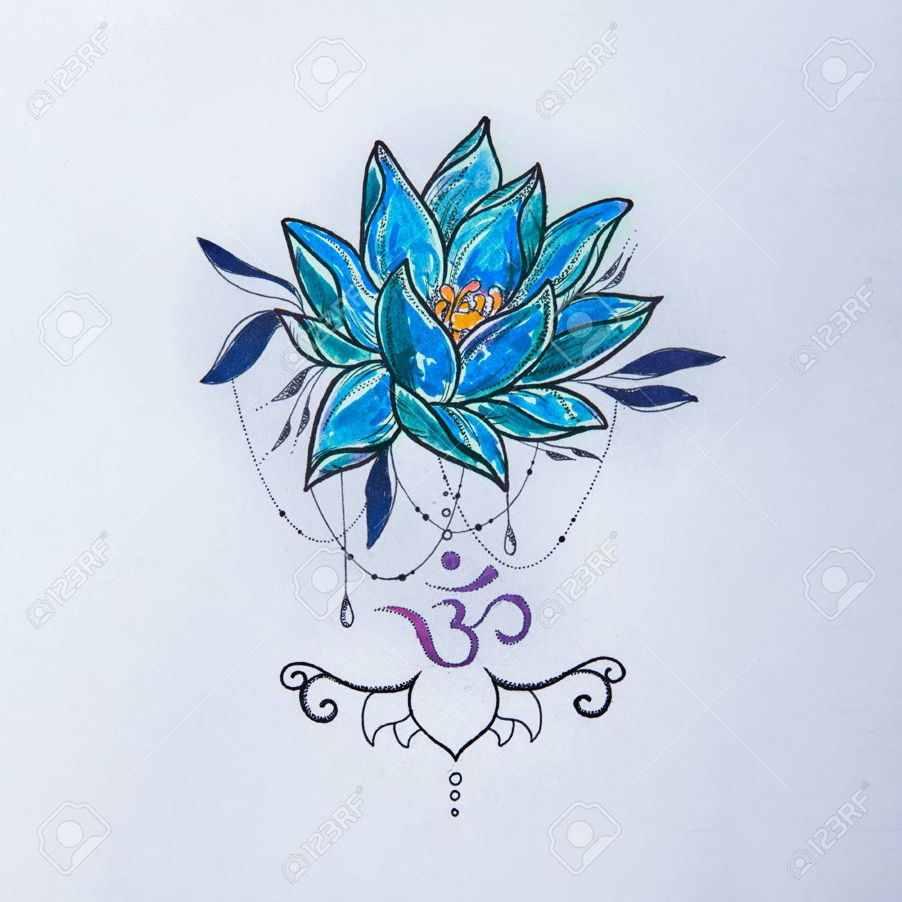 Sketch Lotus And Om Signs On A White Background Stock Photo