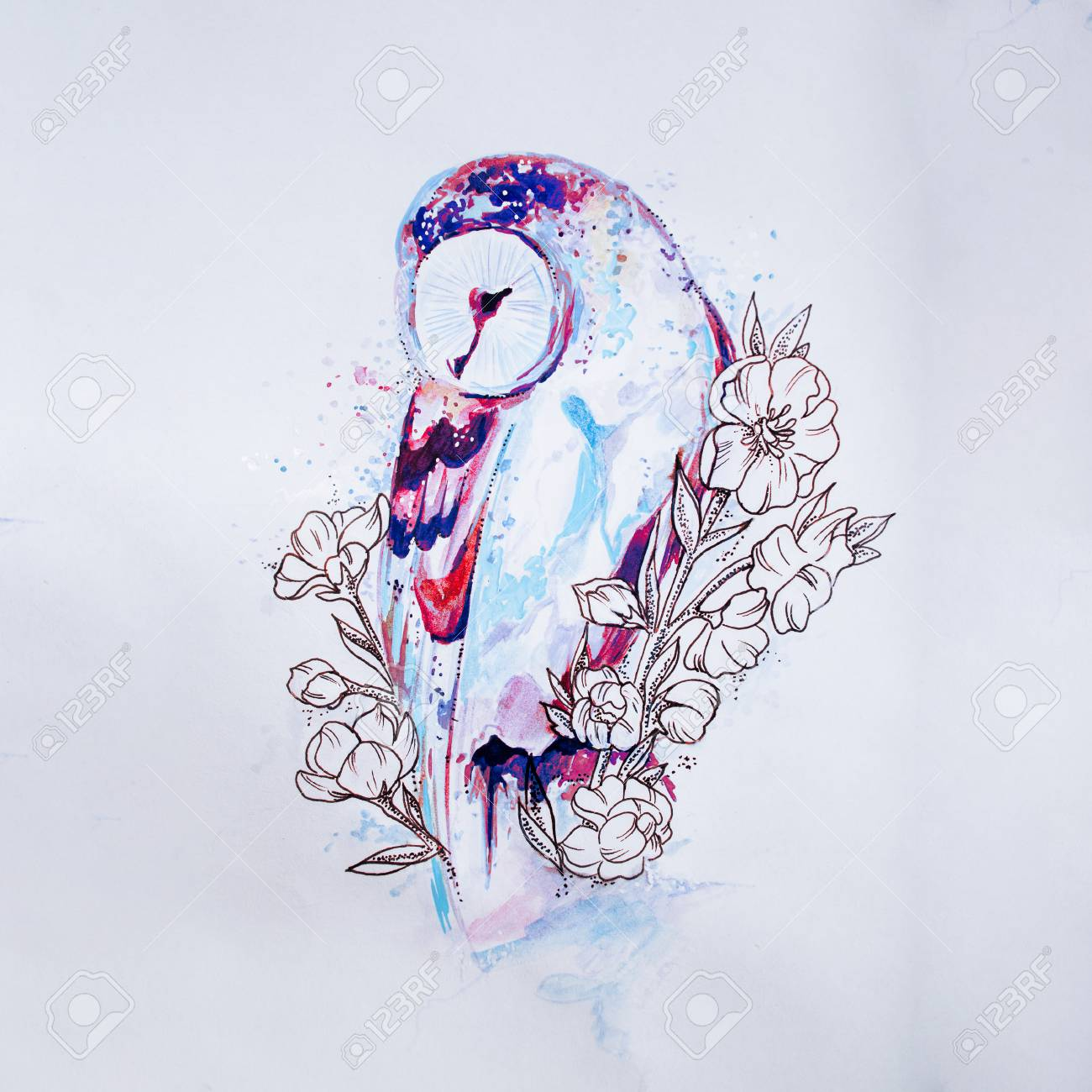 Sketch Owl In Colors On White Background